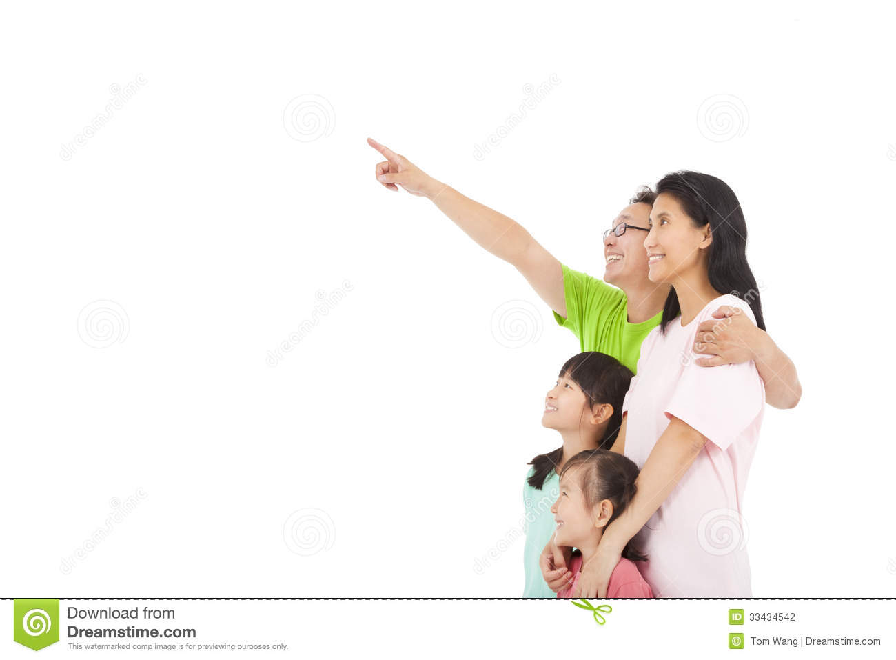 Happy Family Pointing And Look Stock Photography - Image ...