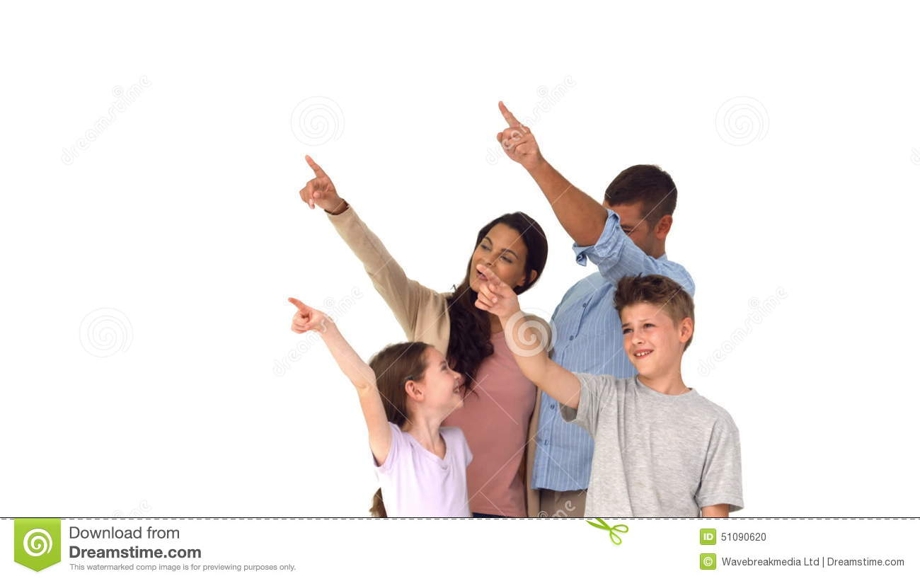 Happy Family Pointing On White Background Stock Footage Video Of