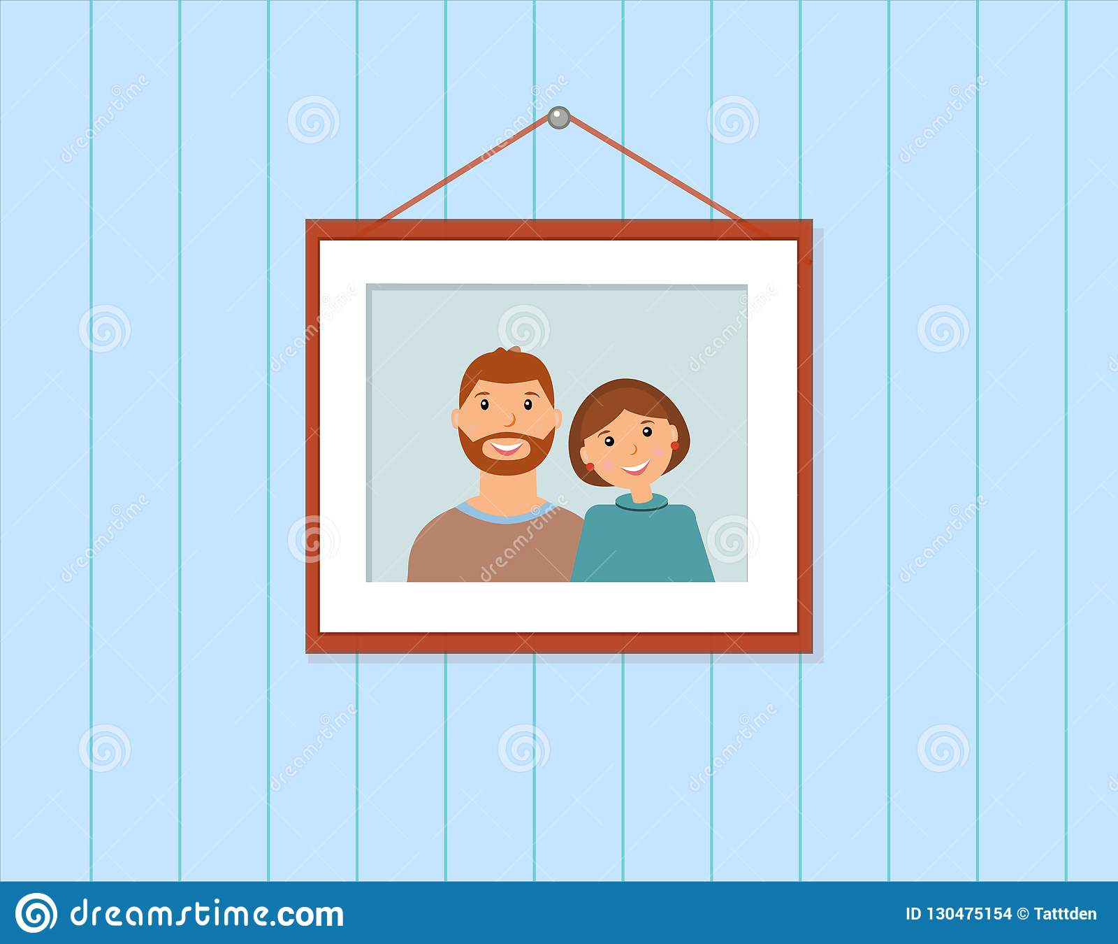 Happy family portrait: loving couple on the blue background