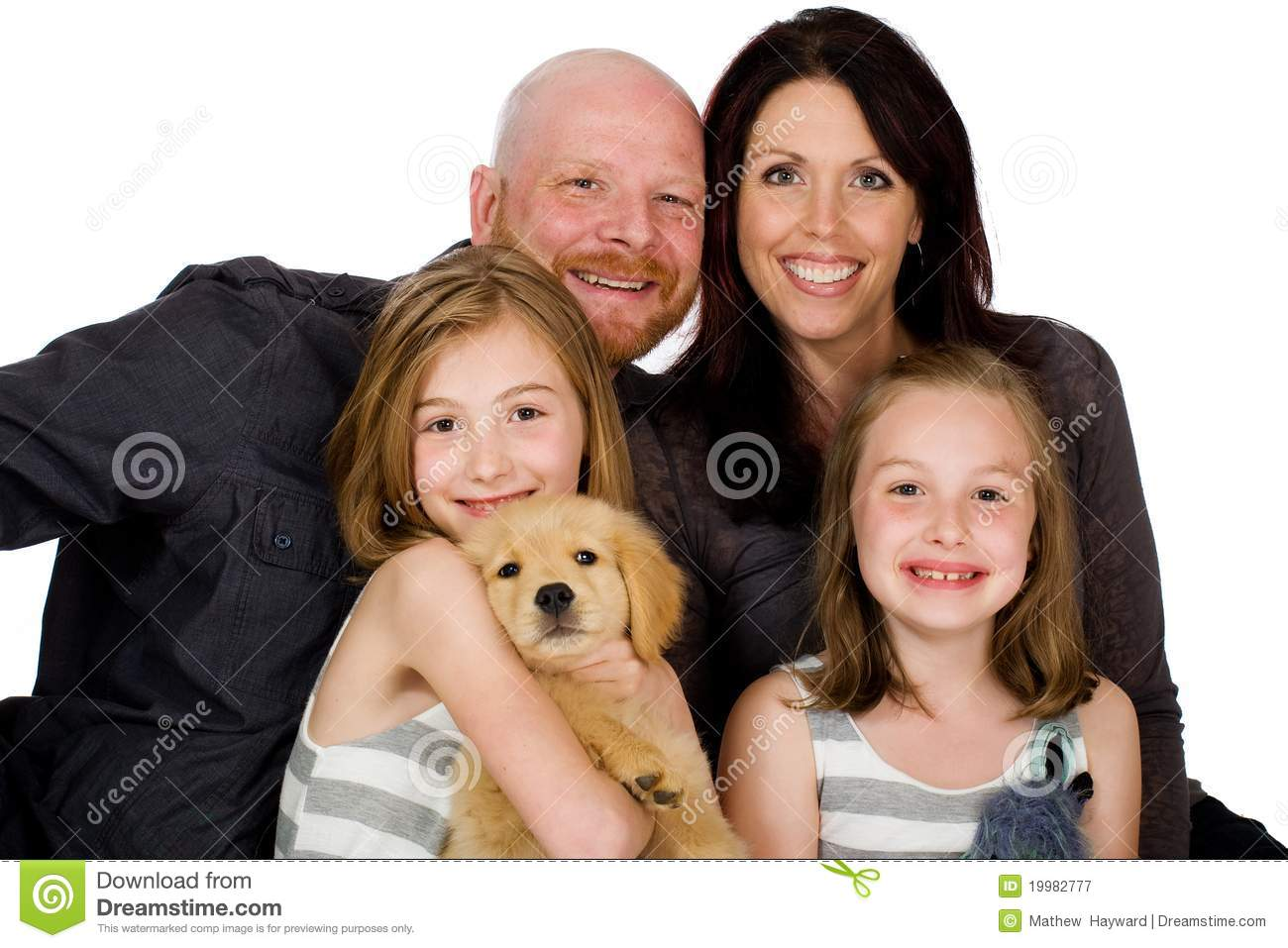 Happy Family with a puppy