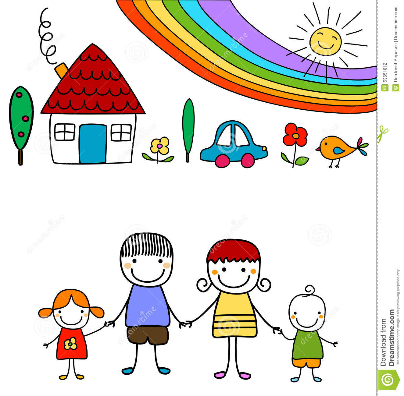 children u0027s drawing of house flowers and rainbow royalty free