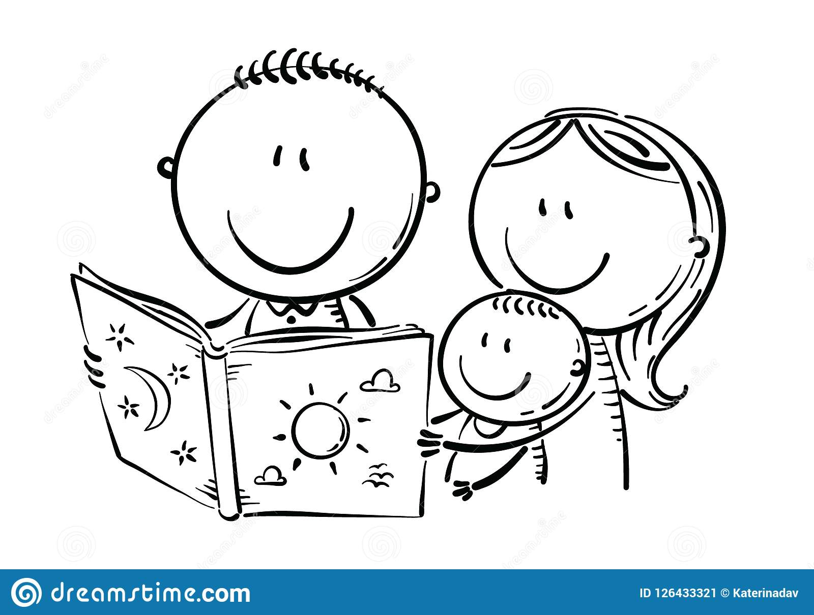Download Happy Family Reading A Book Together Black And White Stock Vector