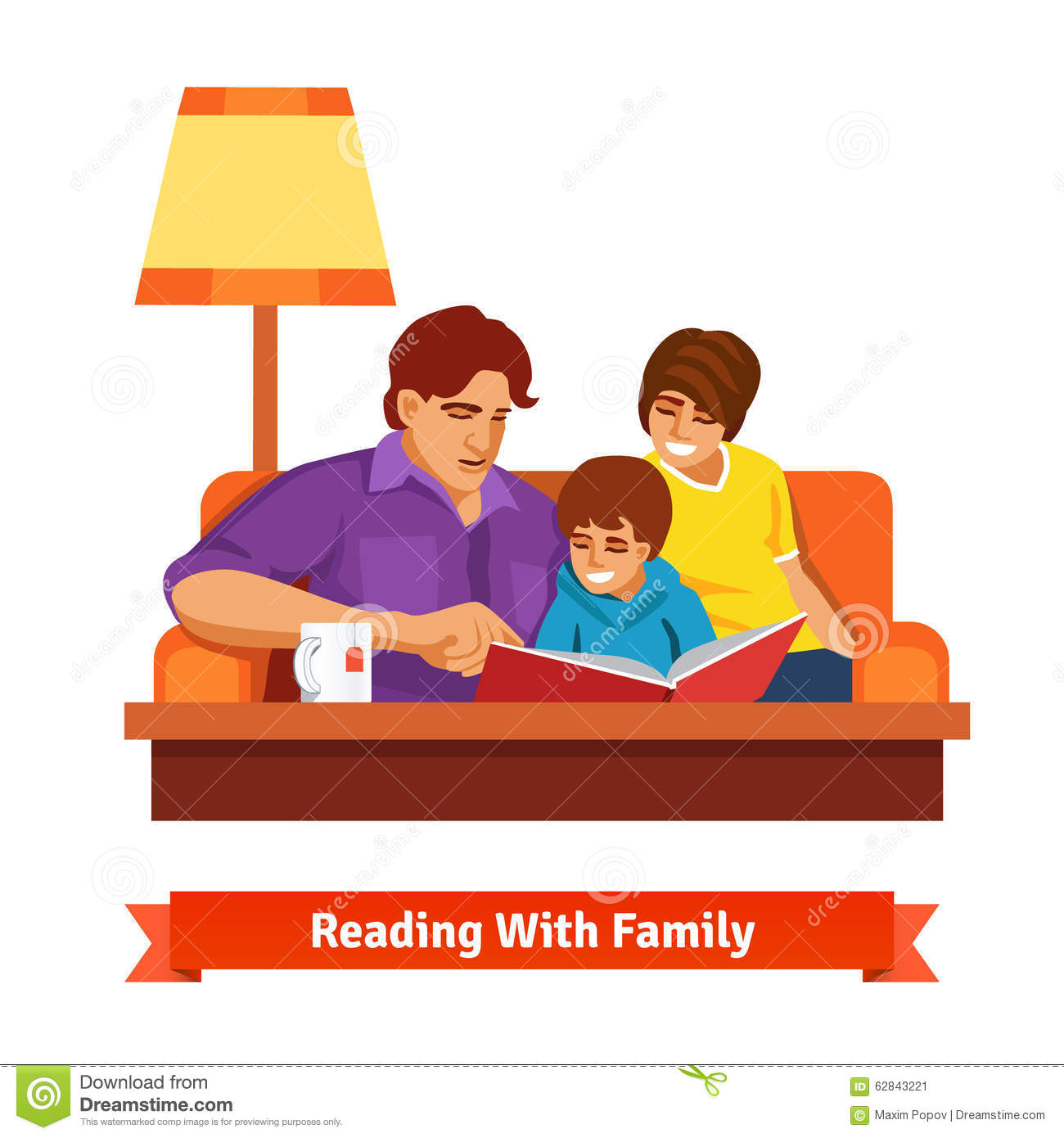 Happy Family Reading Together Mother Father Son