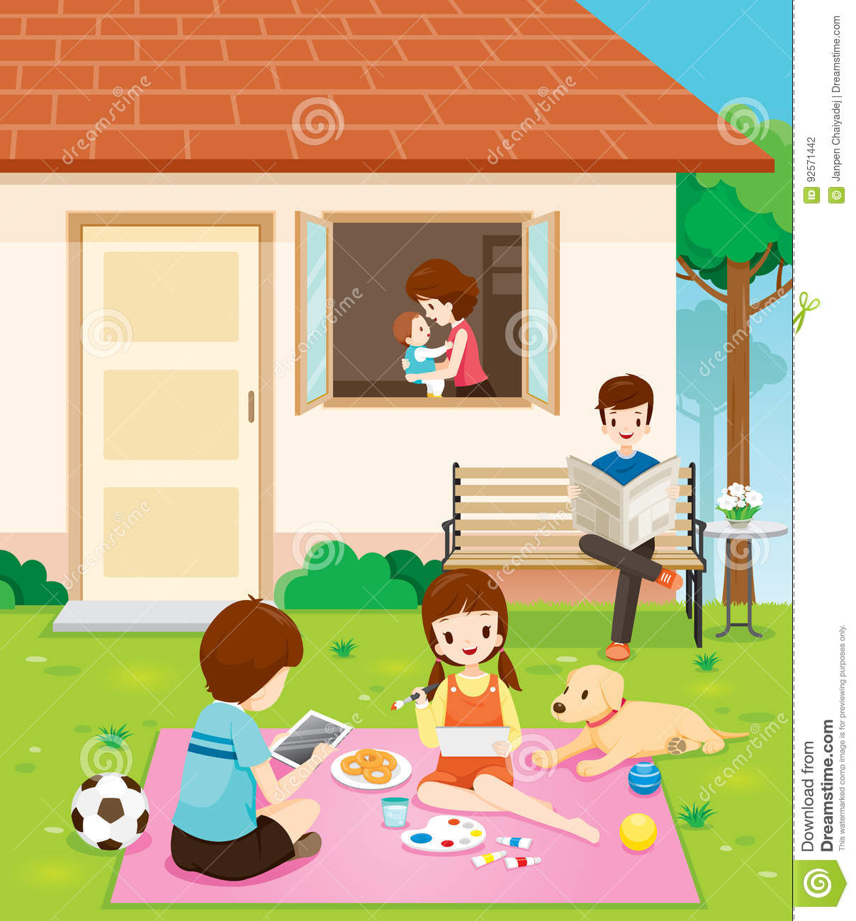 Happy Family Relaxing With Activities At Their Home