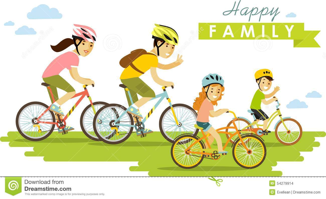Happy Family Riding Bikes Isolated On White Stock Vector - Image ...