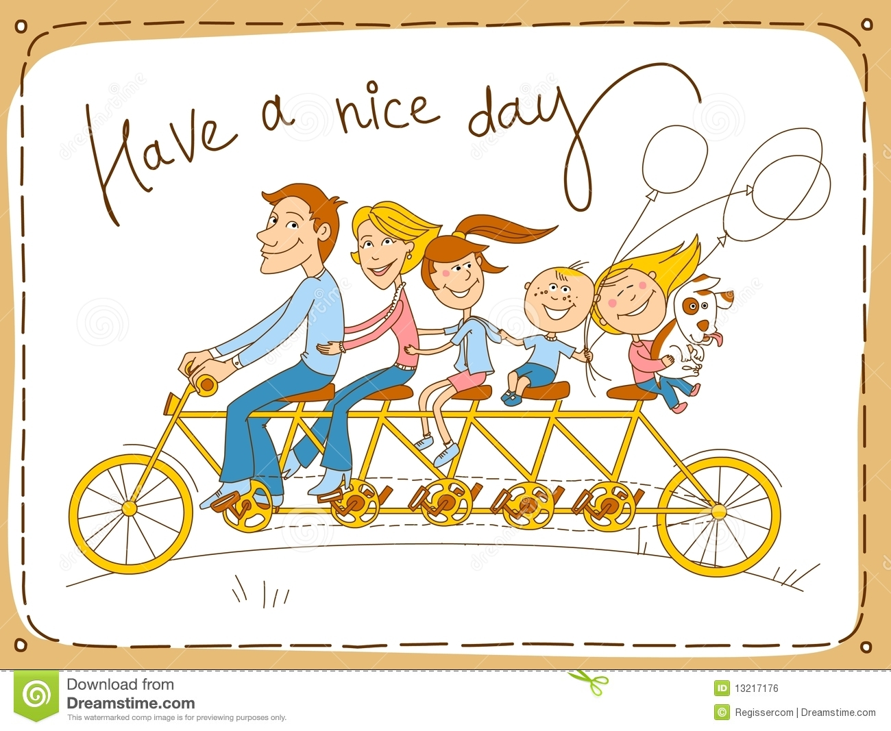 Tandem Bicycle Drawing Tandem, bike for five - father