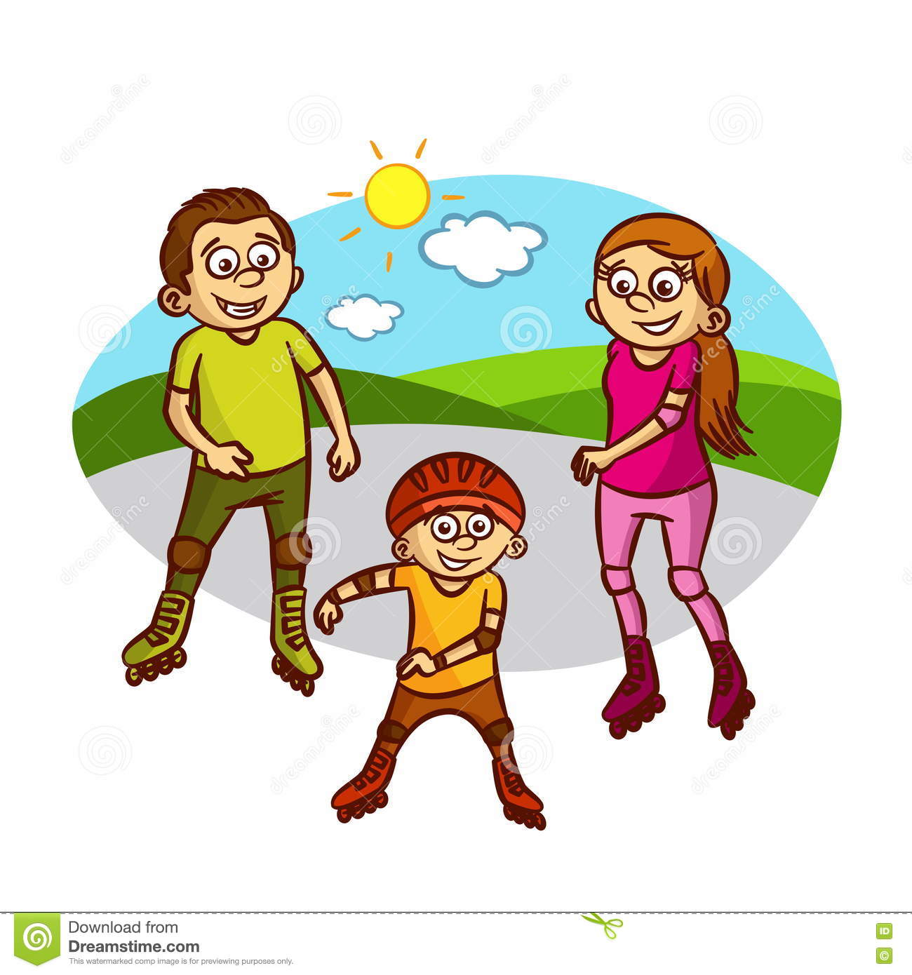 Healthy Active Family ( Vector ) Clipart Image
