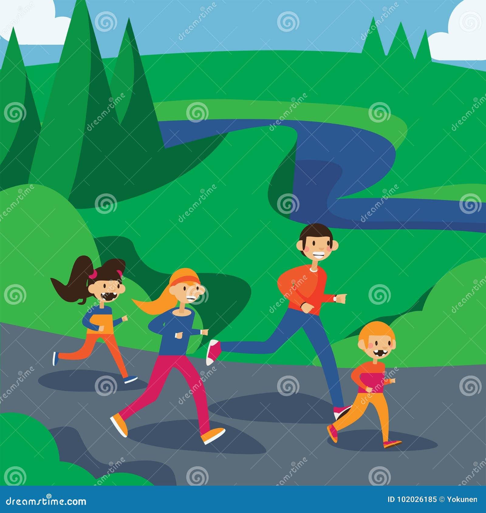 Happy Family Running In Park. Square Cartoon Illustration In Bright ...