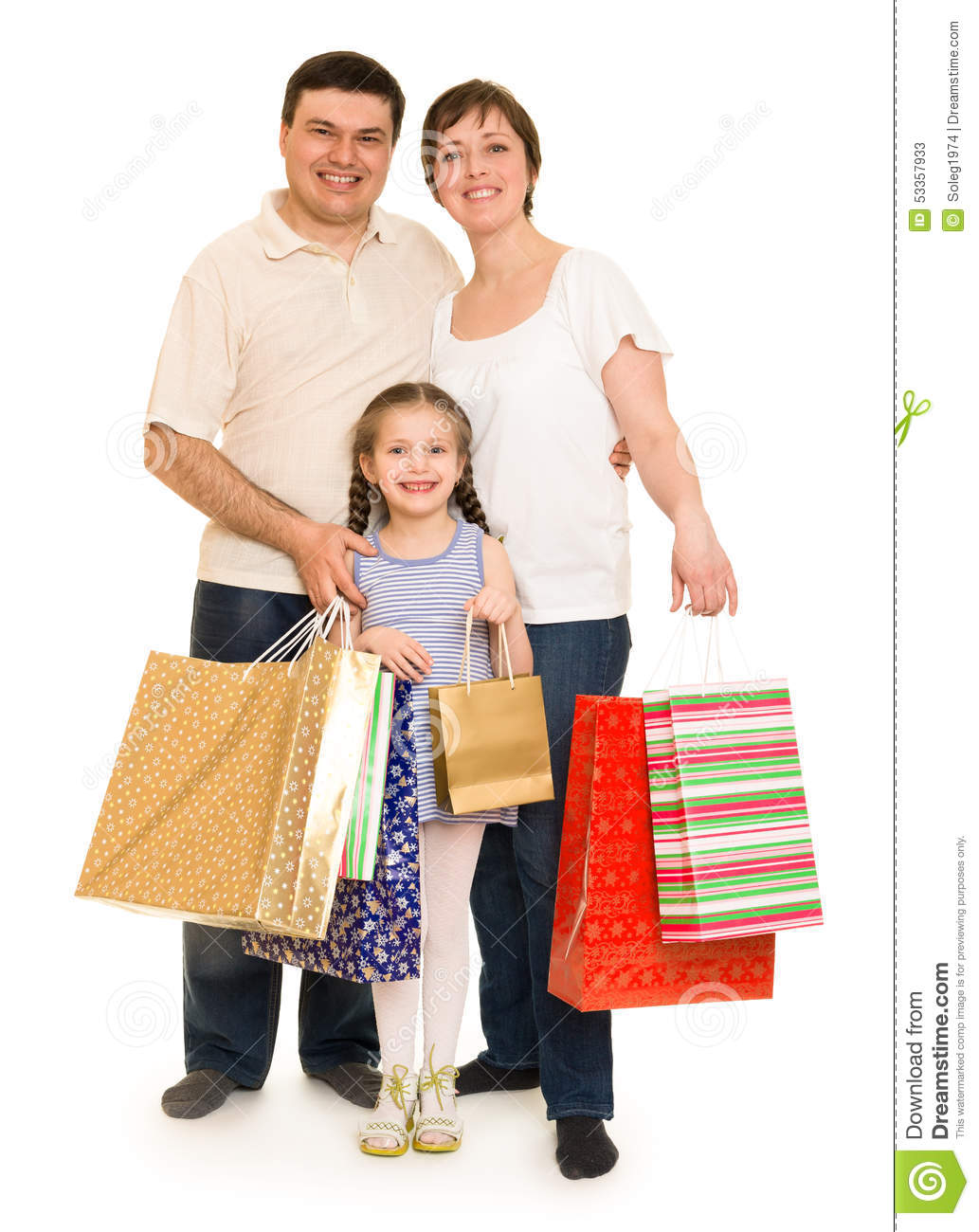 Happy Family With Shopping Bag Stock Photo - Image: 53357933
