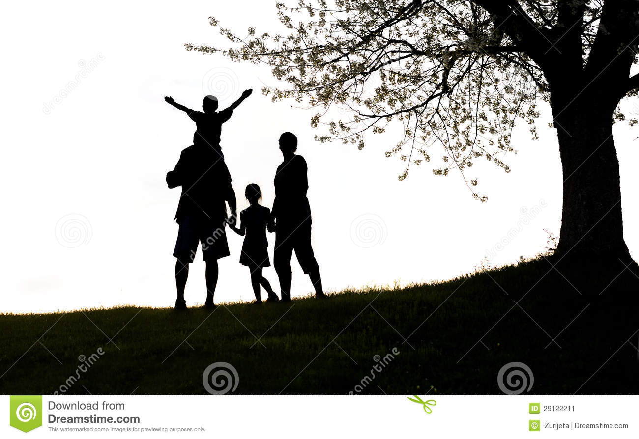 Landscape Picture Of Family With Dog Outside