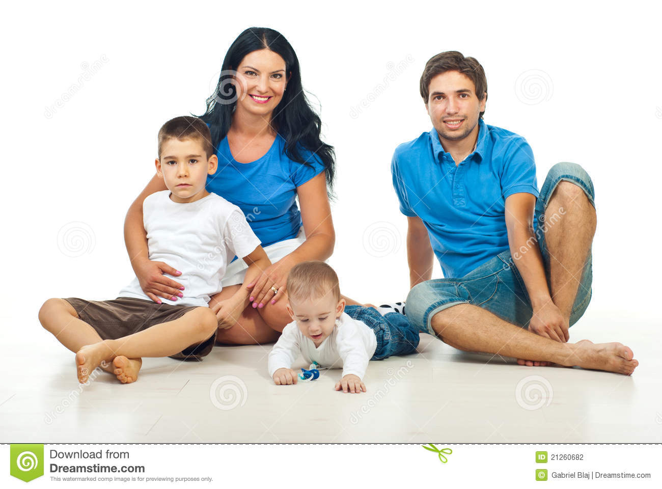 happy family sitting on floor stock photo image 21260682. Black Bedroom Furniture Sets. Home Design Ideas