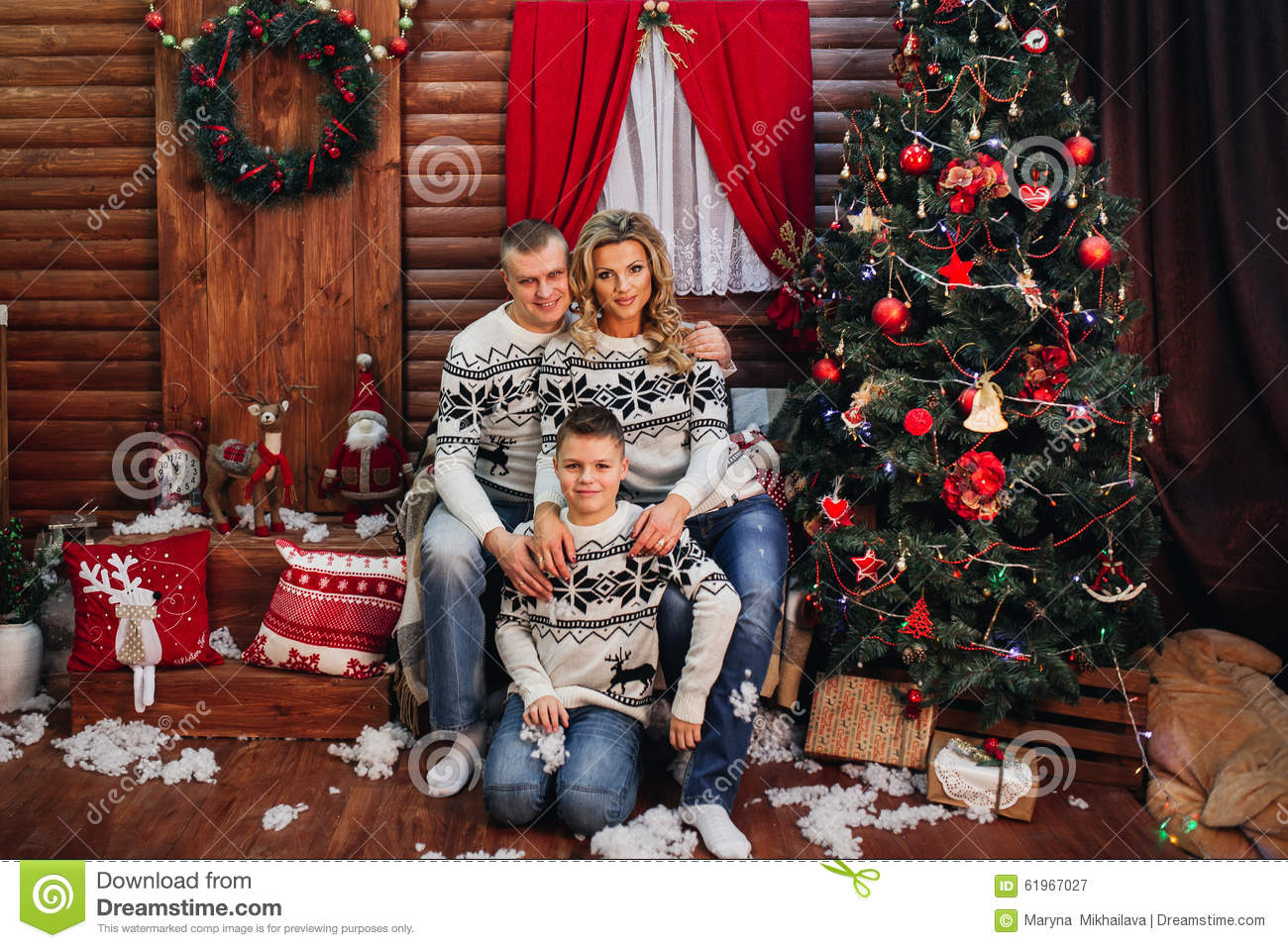Family Around Christmas Tree Part - 27: Royalty-Free Stock Photo. Download Happy Family Sitting Near Christmas Tree  ...