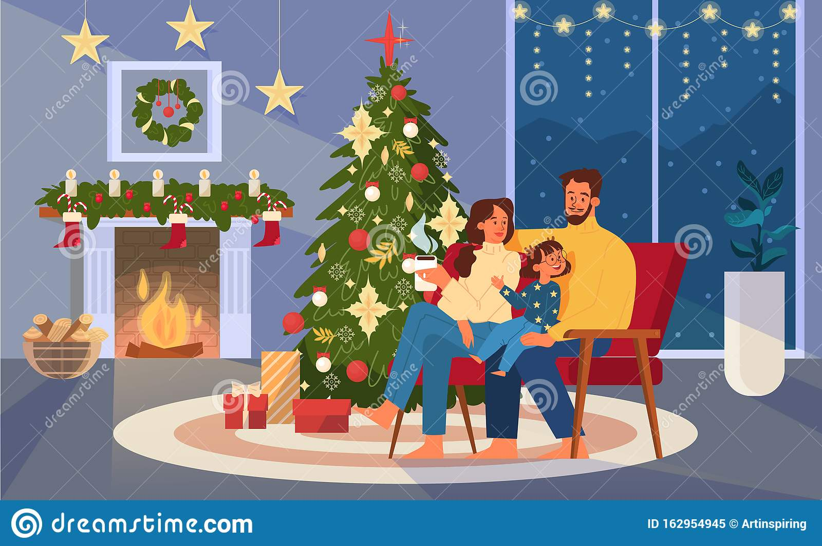 Happy Family Sitting Next To Christmas Tree, Holding Cup ...