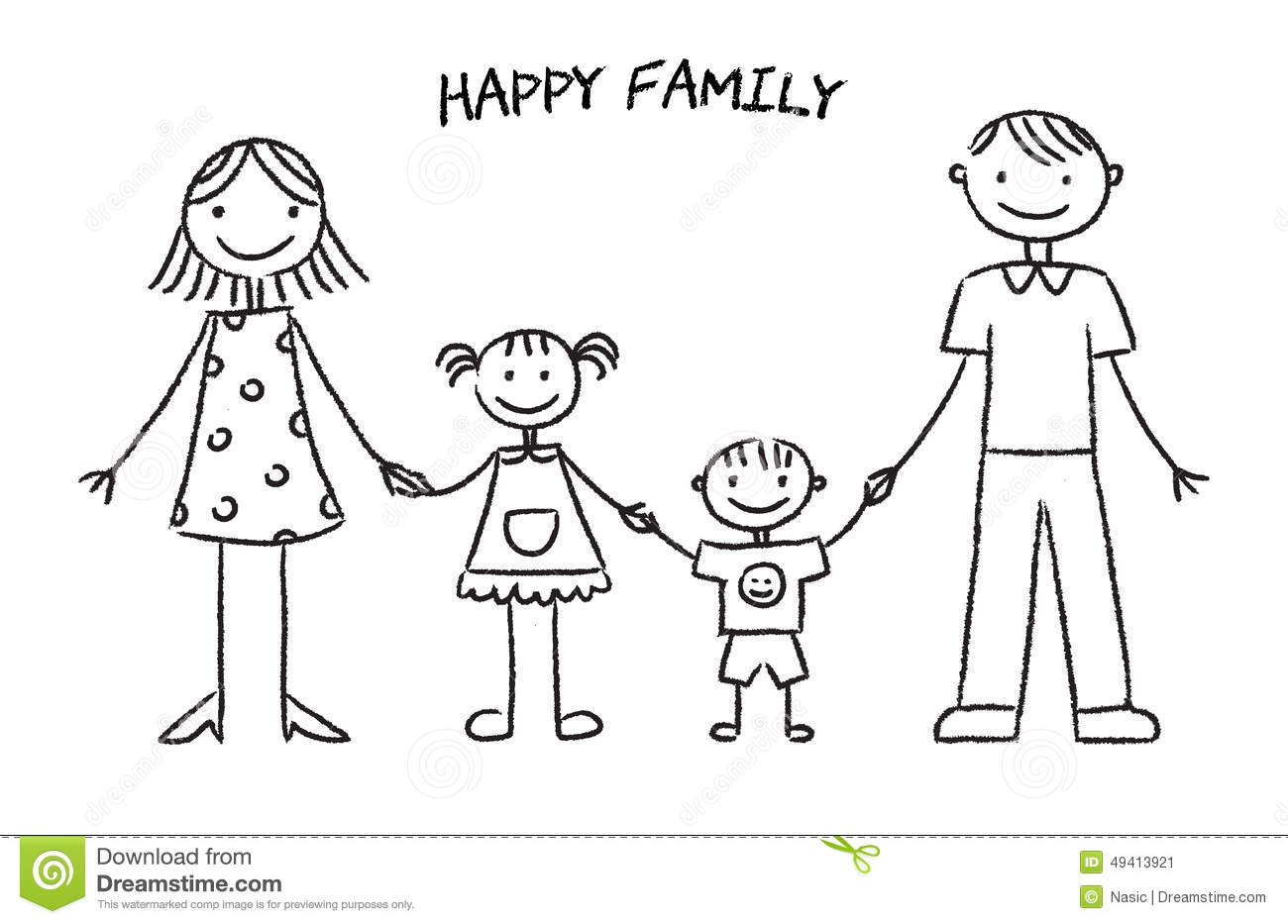 happy family sketch stock vector image 49413921 - Drawing Sketch For Kids