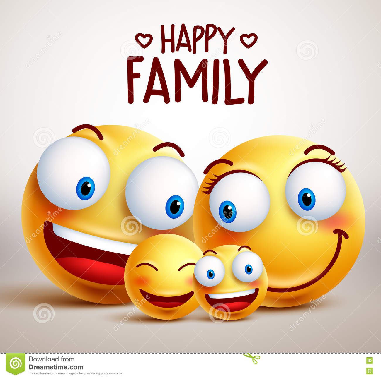 Happy family smiley face vector characters with father, mother and children