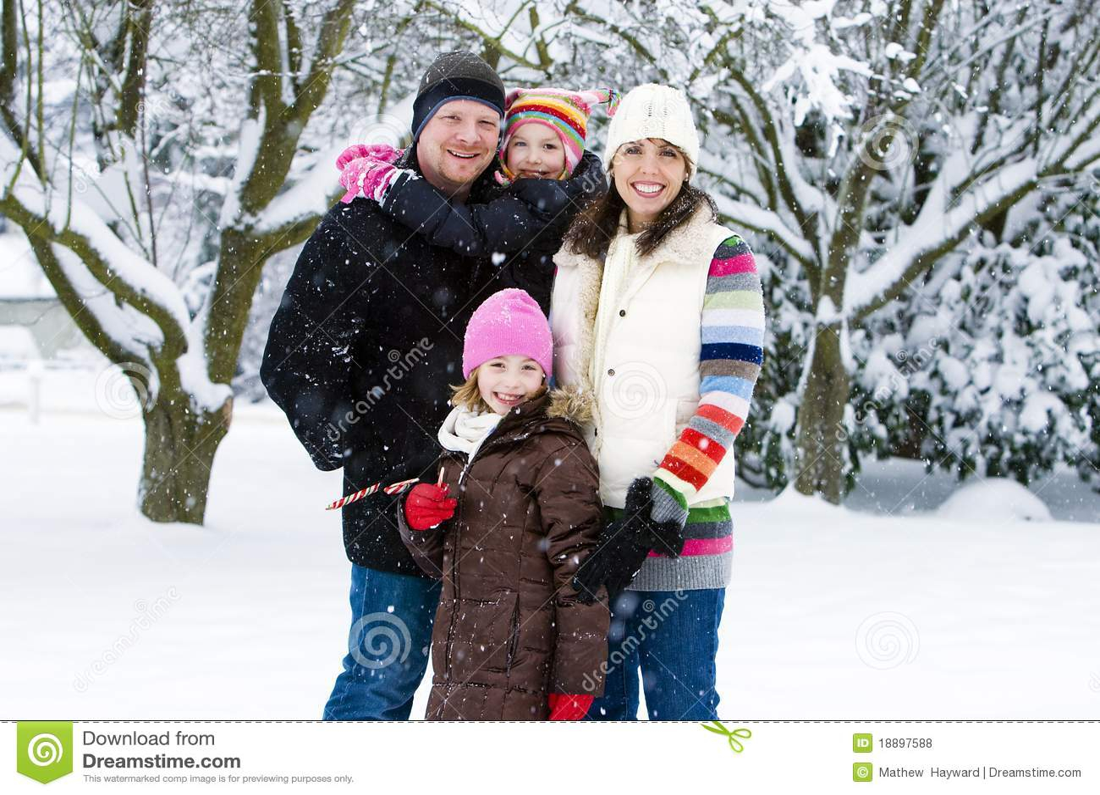 happy family in the snow stock photo image of coat