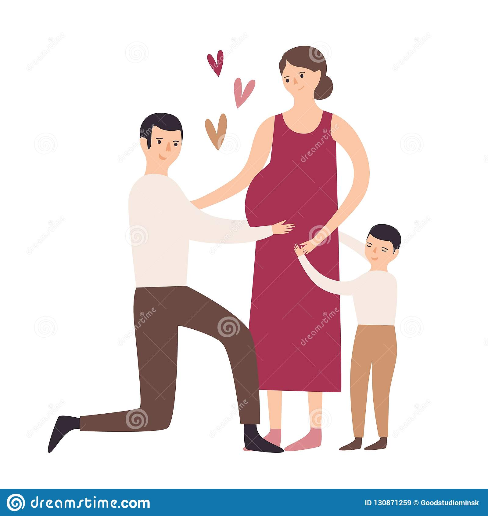 Happy family. Son hugging pregnant mother, father standing on knee and touching her belly. Pregnancy and motherhood