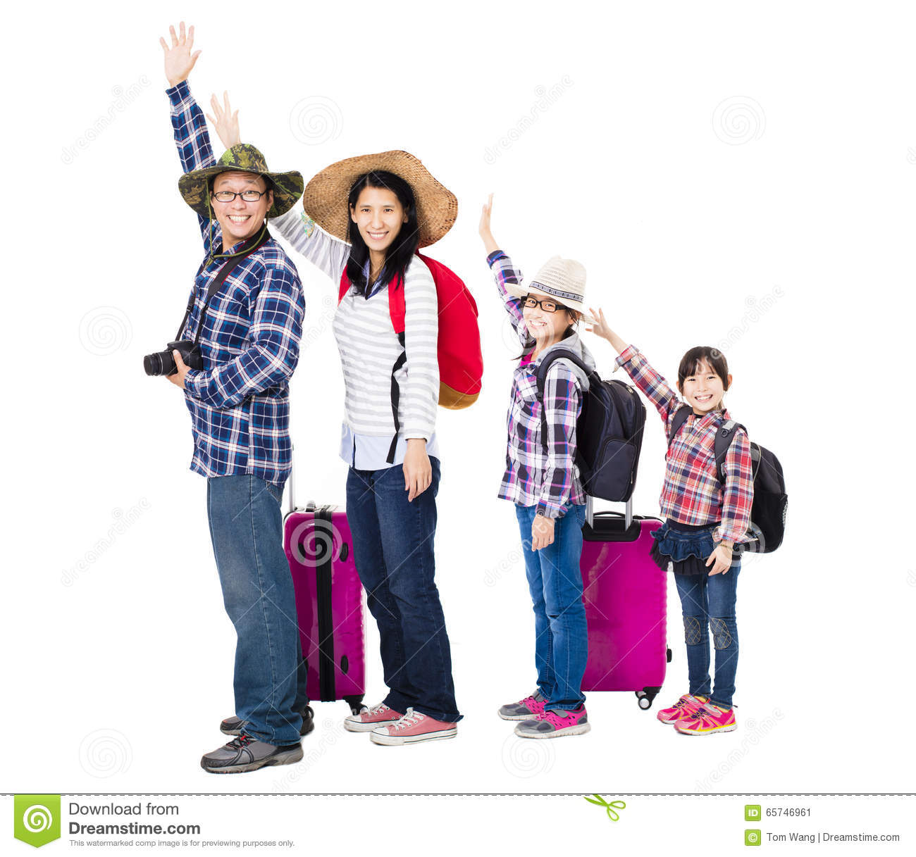 Family Going On A Vacation Cartoon Vector