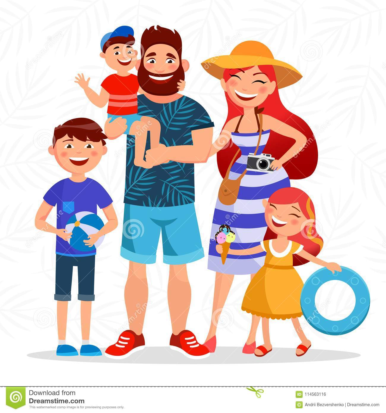 Happy family on summer vacation going to the beach and having rest close to the sea. Parents and children cartoon