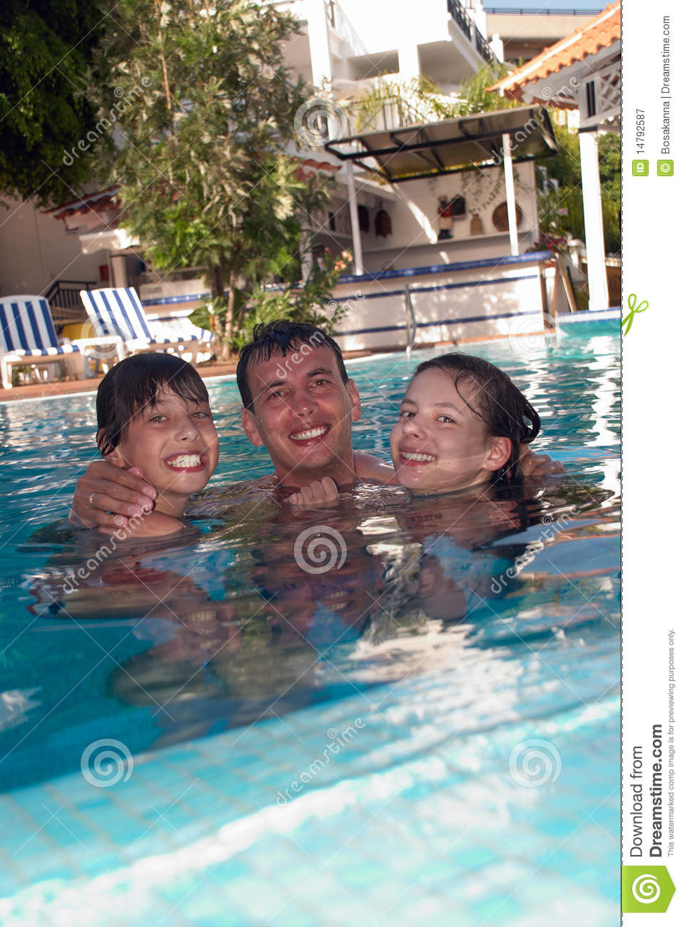 Happy Family In Swimming Pool Stock Image Image Of Happy