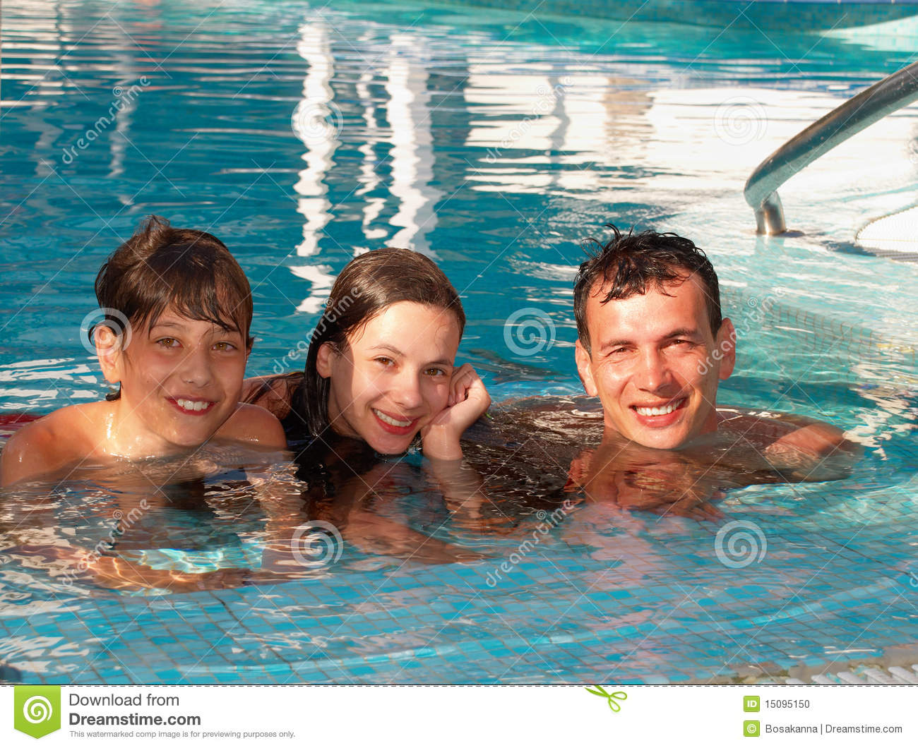 Happy family in the swimming pool stock photo image for Family swimming pool