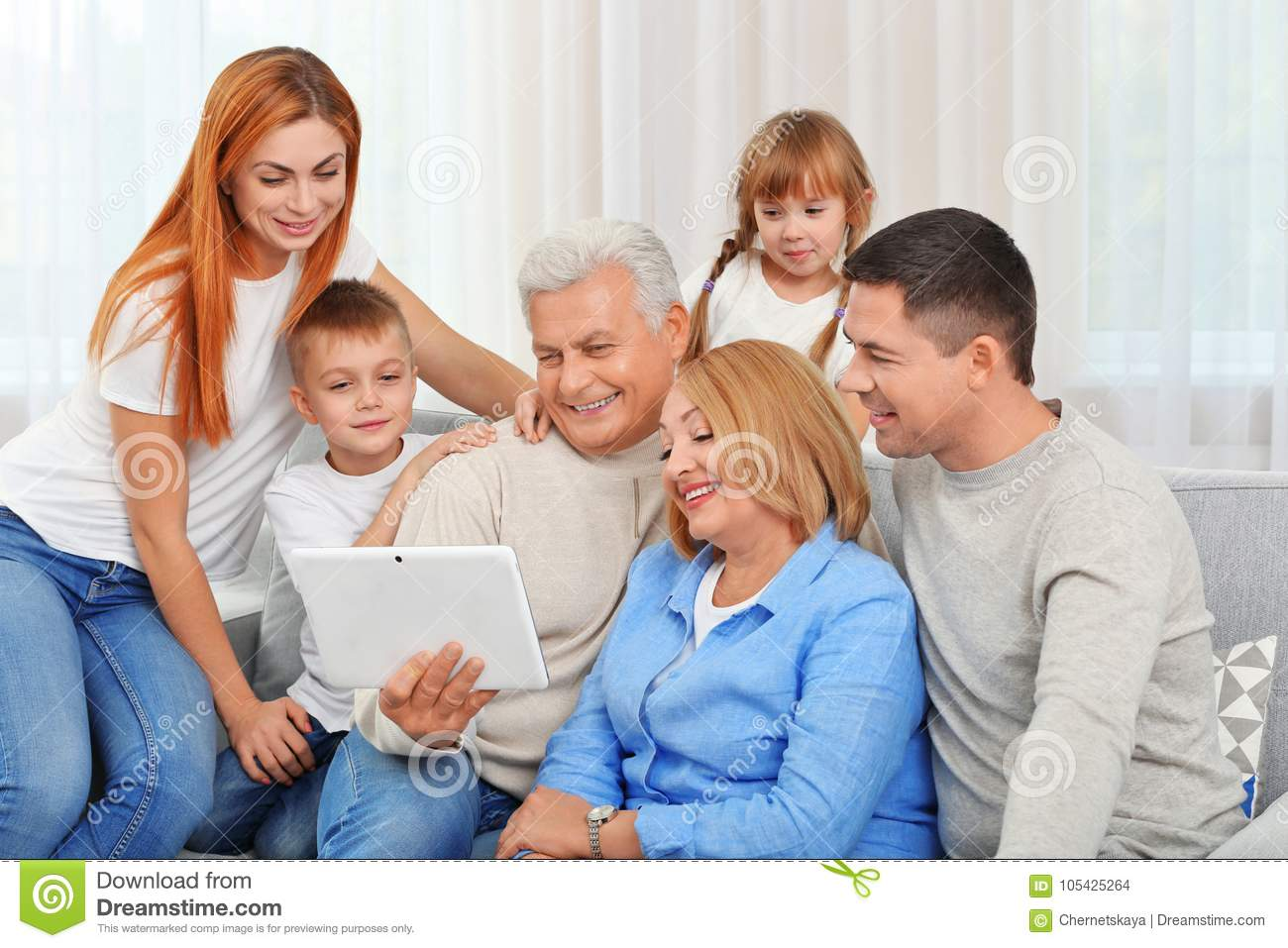 Happy family with tablet