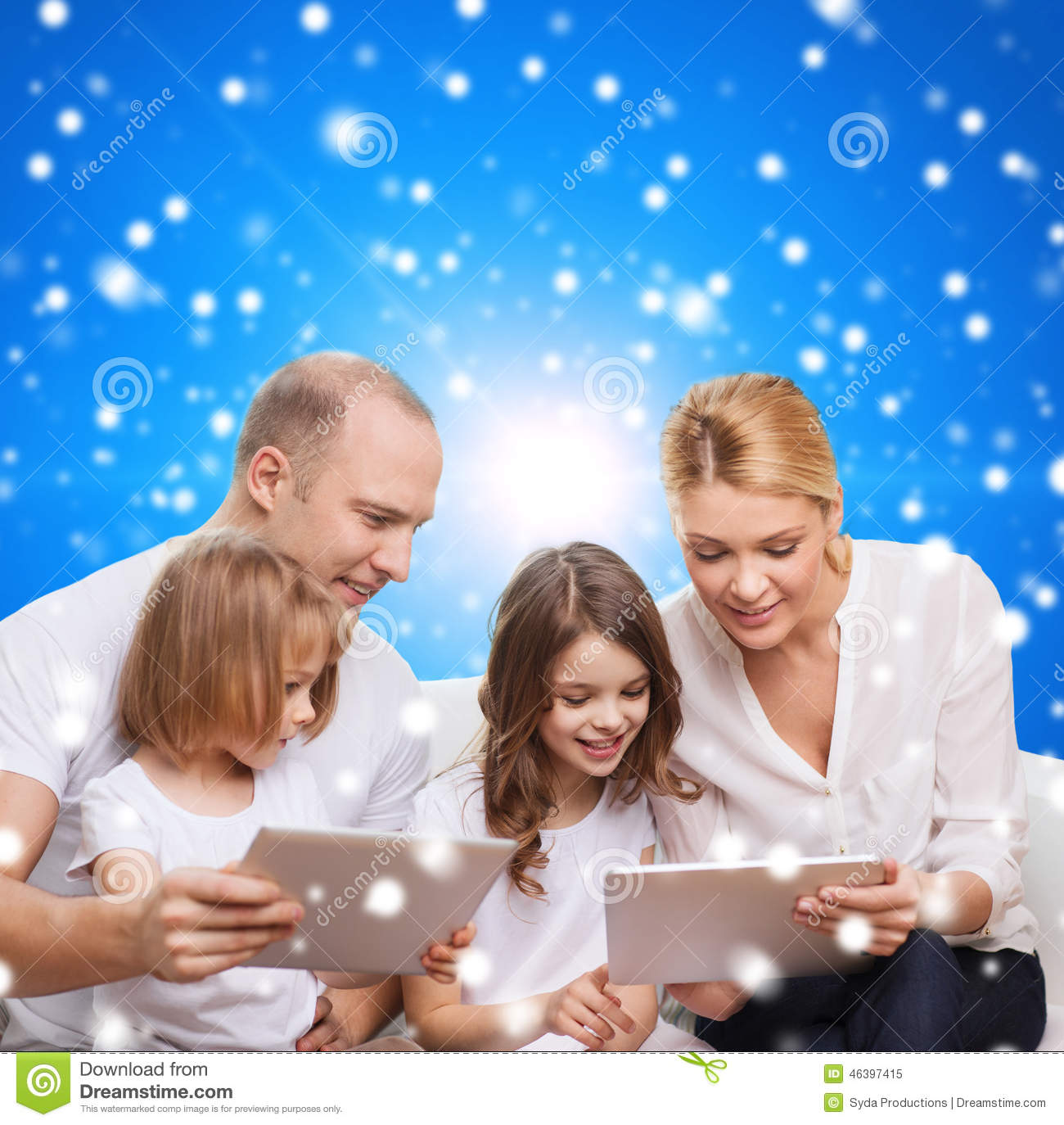 Download Happy Family With Tablet Pc Computers Stock Image - Image of parents, father: 46397415