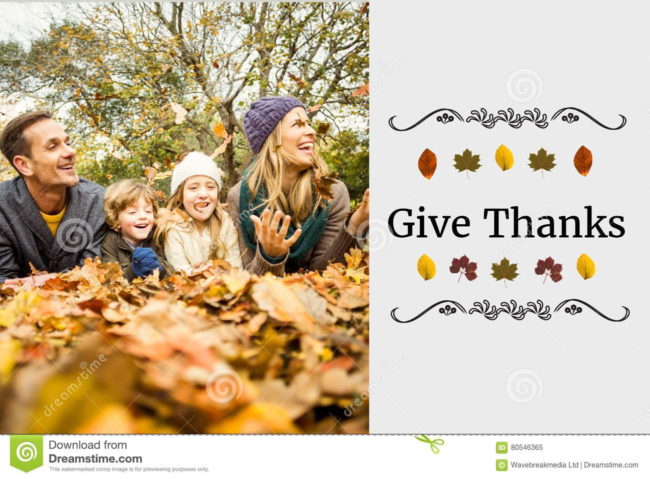 Happy Family And Thanksgiving Message Stock Image - Image ...