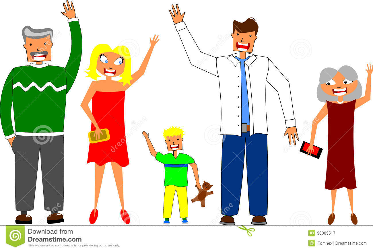 Happy family stock vector illustration of child characters 36003517 happy family with their grandparents either greeting you saying goodbye by waving or volunteering with their raised hands isolated on white m4hsunfo