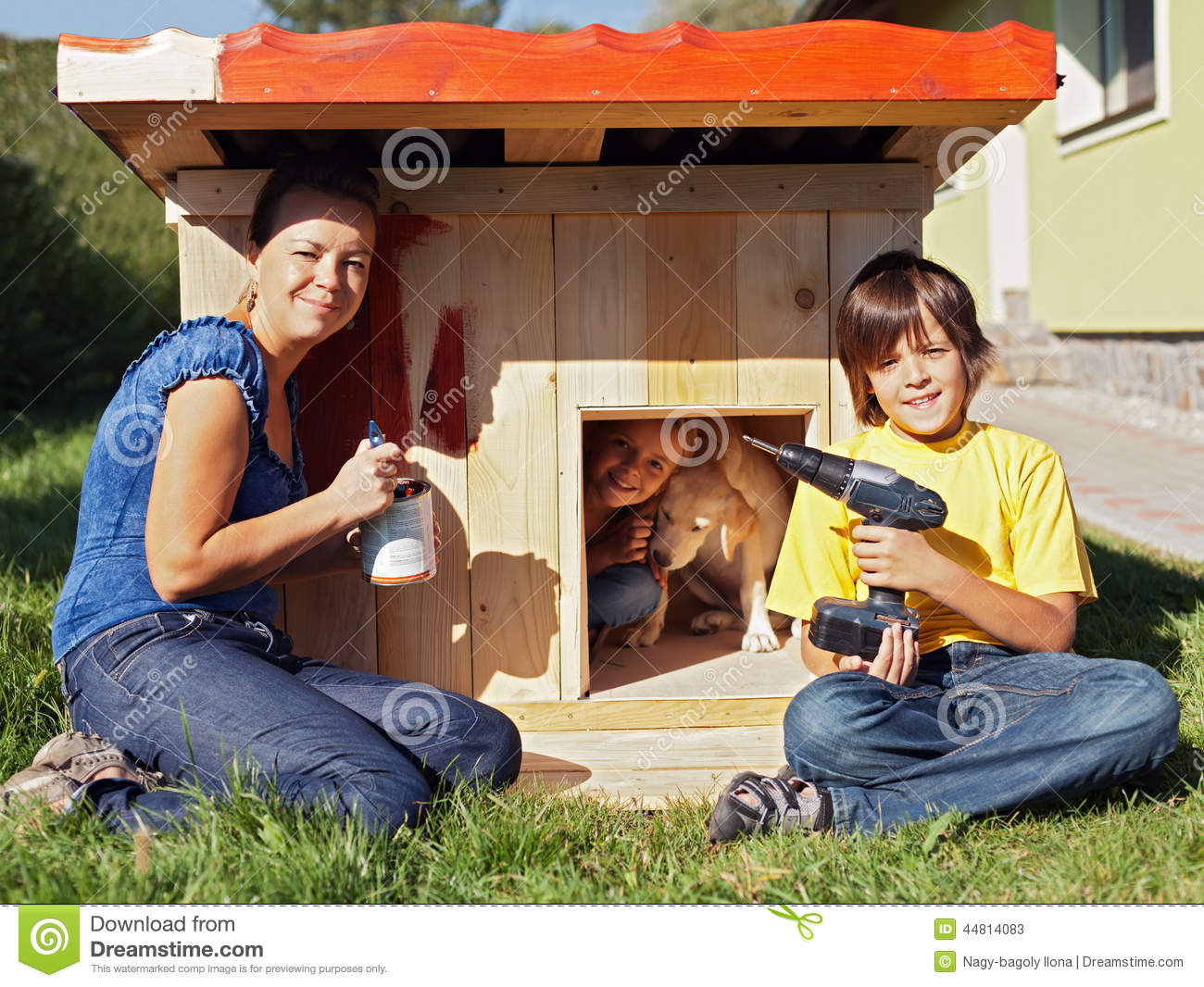 Download Happy Family Time - Making A Shelter For Our Puppy Dog Stock Image - Image of painting, doghouse: 44814083