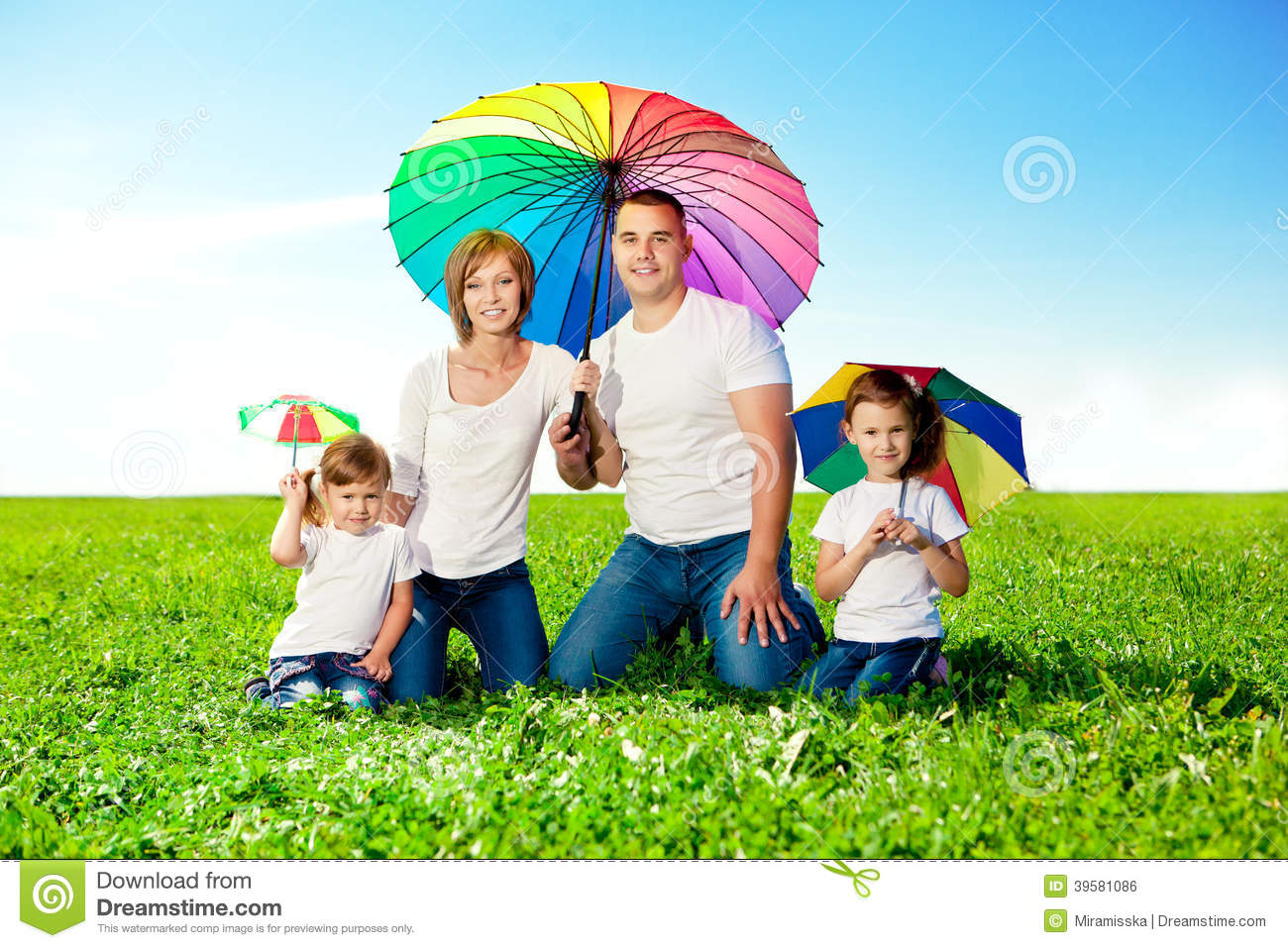 Gardening Group: Happy Family Together In Outdoor Park At Sunny Day. Mom