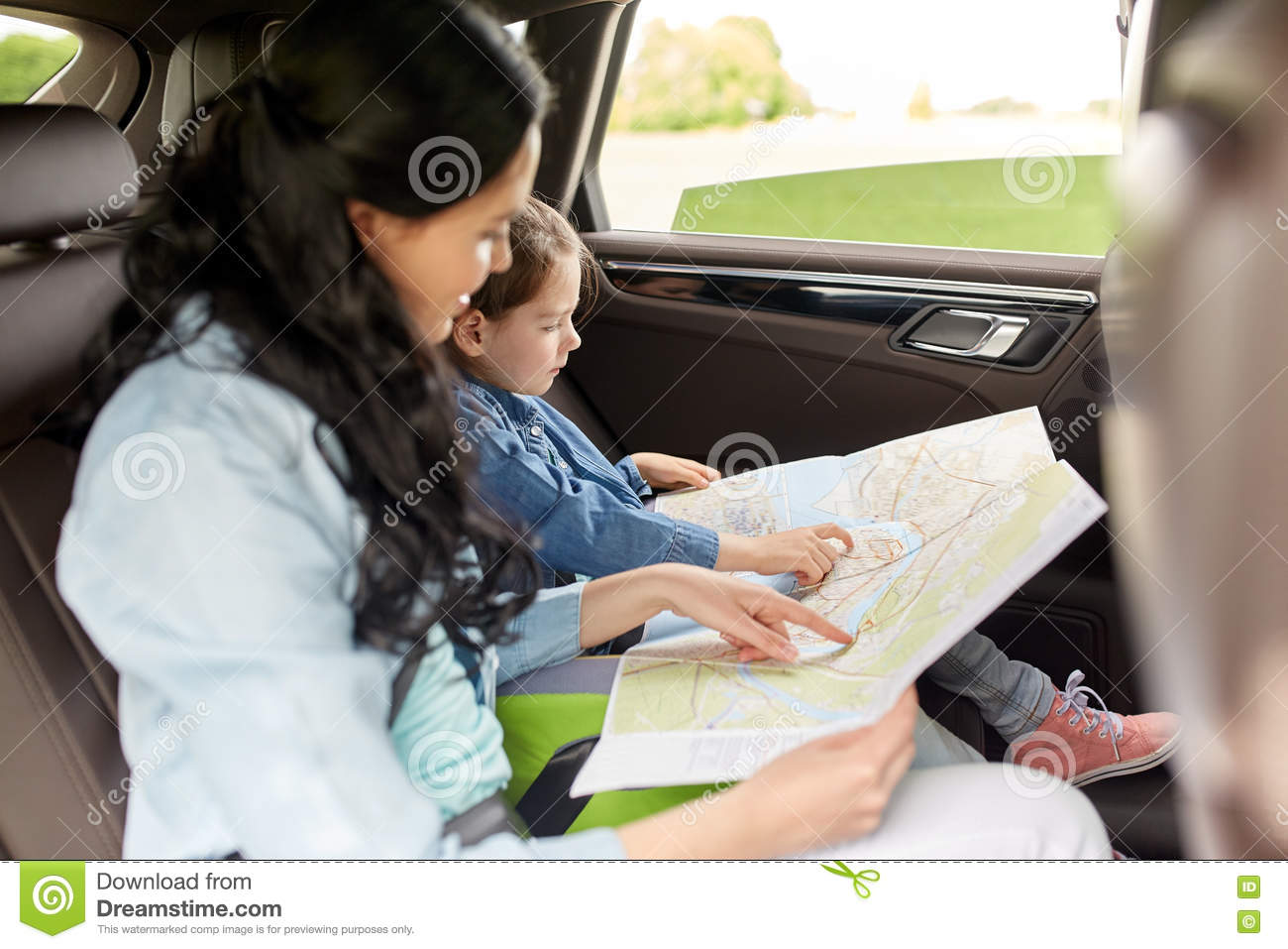 Happy Family With Travel Map Driving In Car Photo Image – Family Travel Map