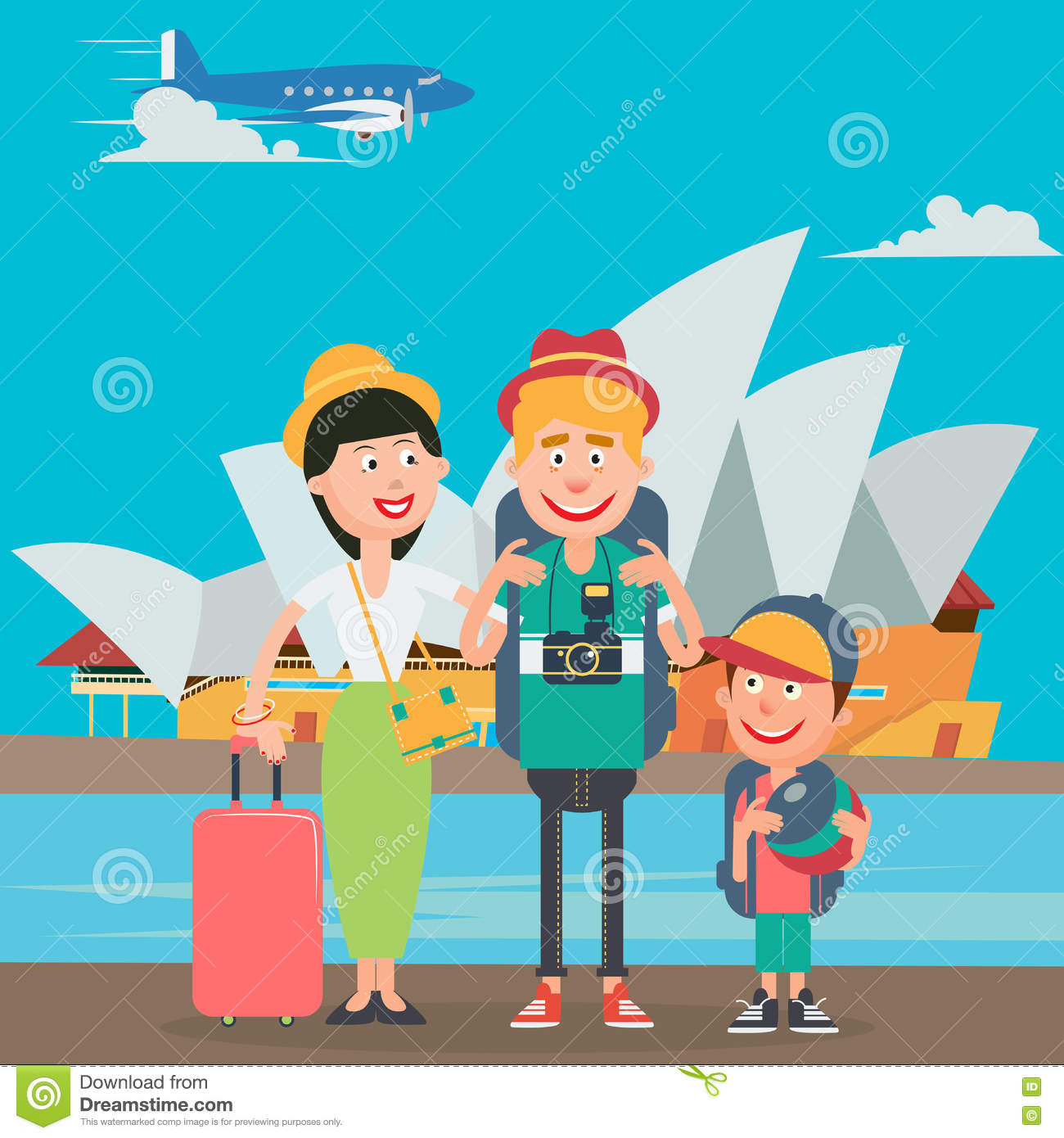 Happy Family Travelling By Plane To Australia Father Mother And