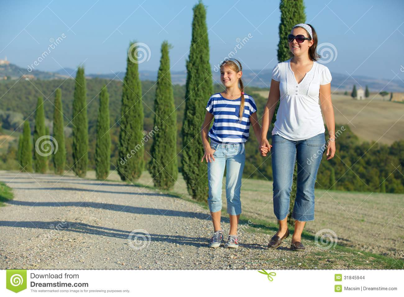 Happy family in tuscan stock images image 31845944 for Mother daughter vacation destinations