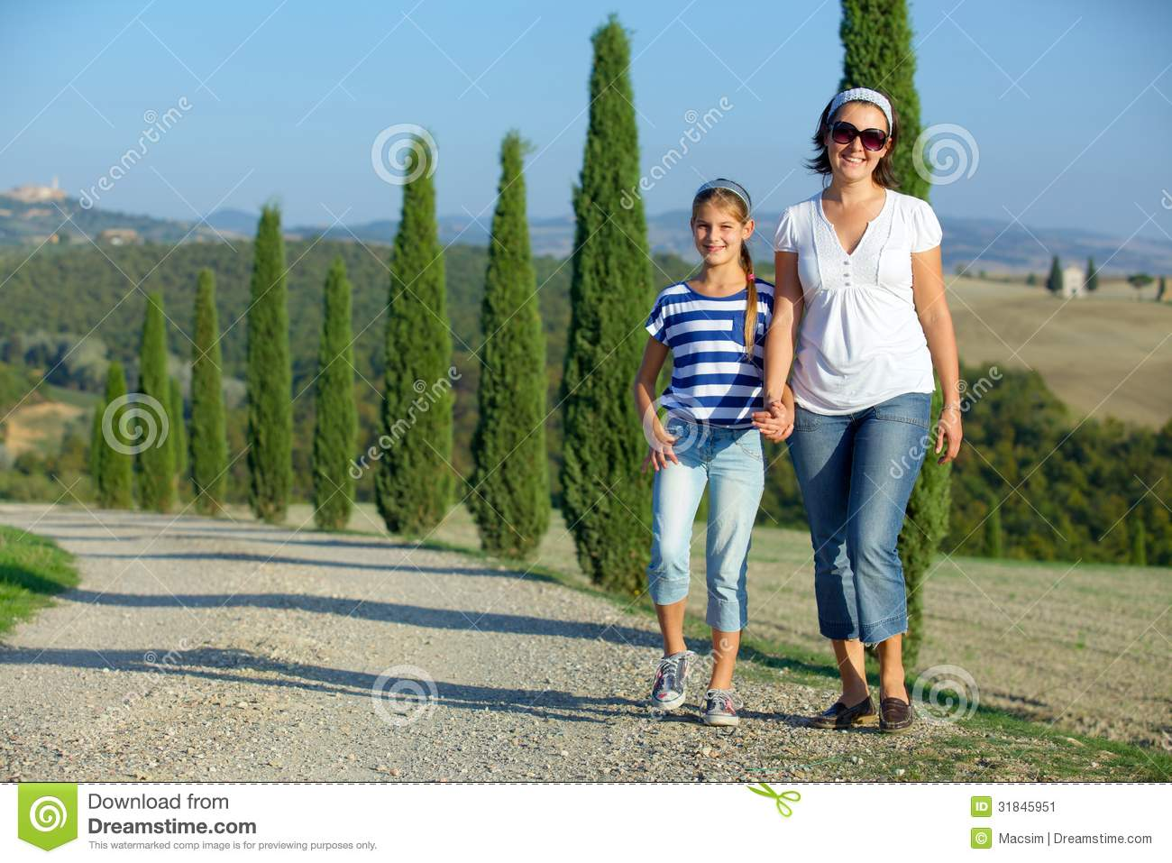 Happy family in tuscan stock image image 31845951 for Mother daughter vacation destinations