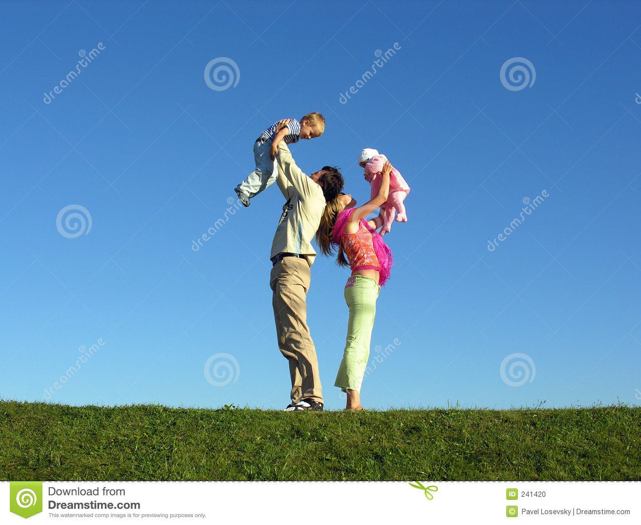 Happy family with two children on blue sky 2