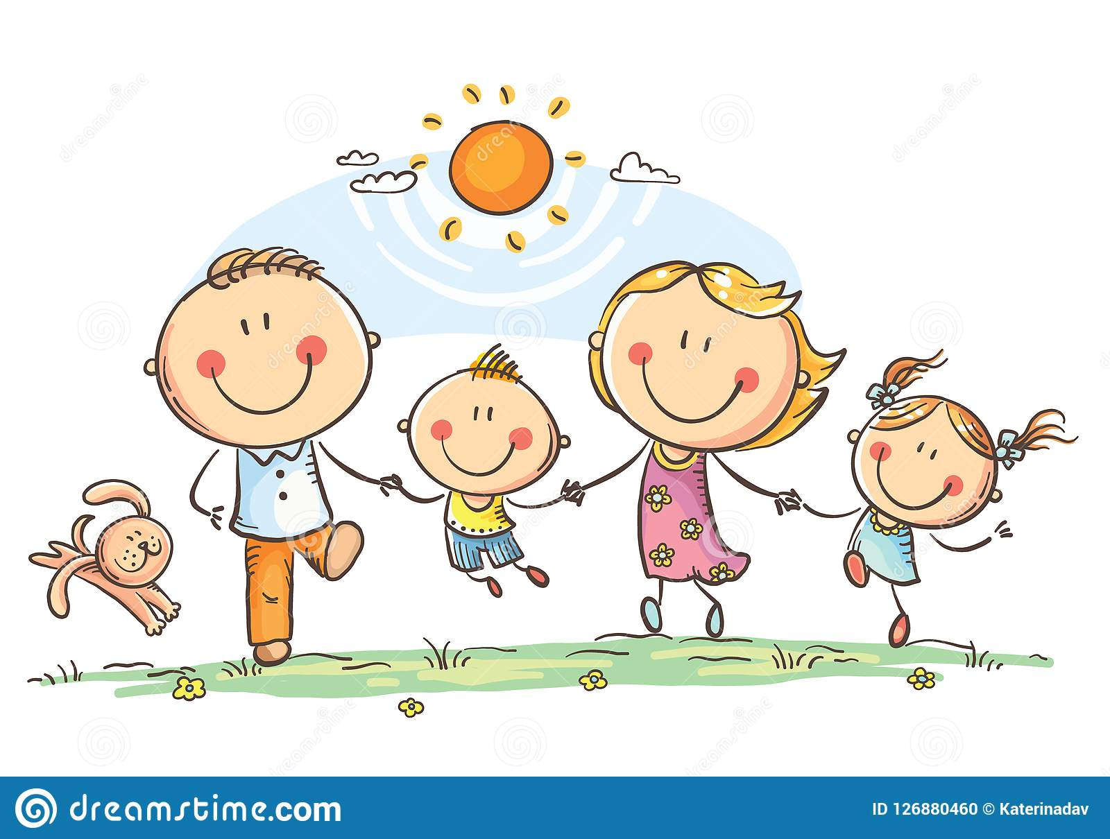 Happy family with two children having fun running outdoors