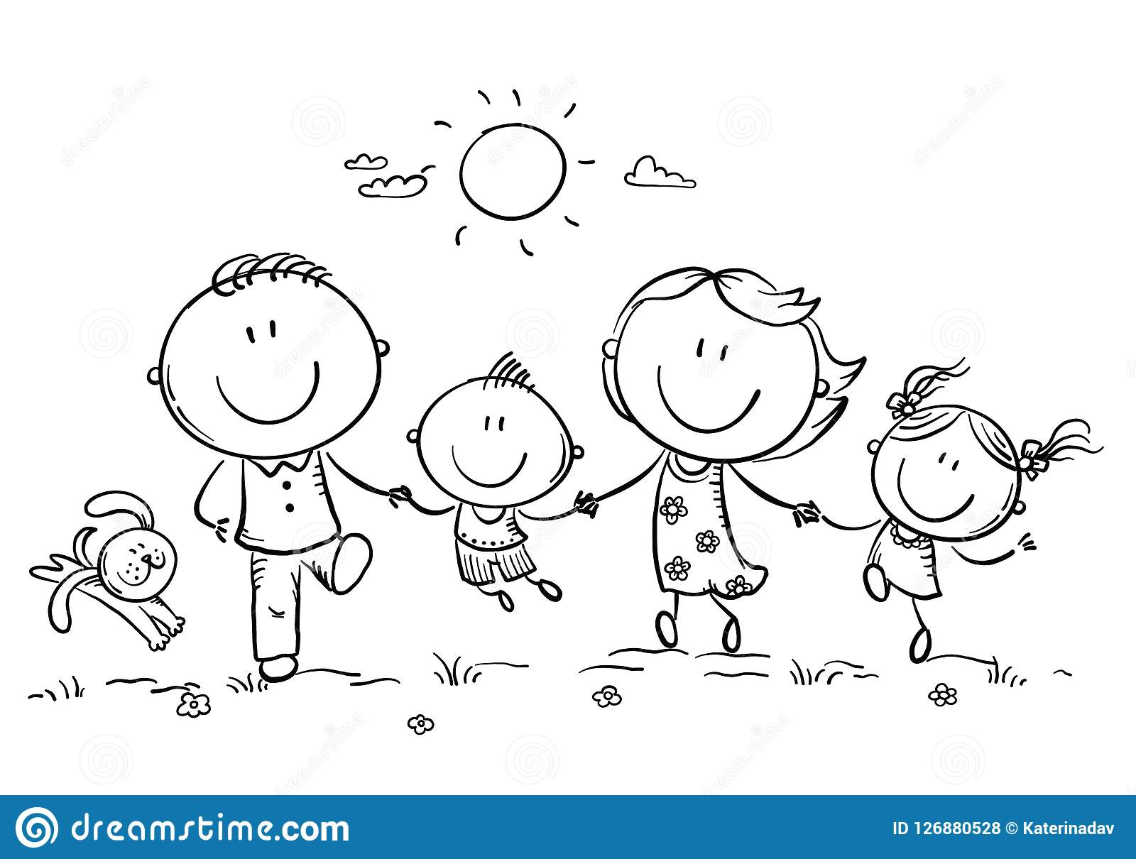 Happy Family With Two Children Having Fun Running Outdoors ...