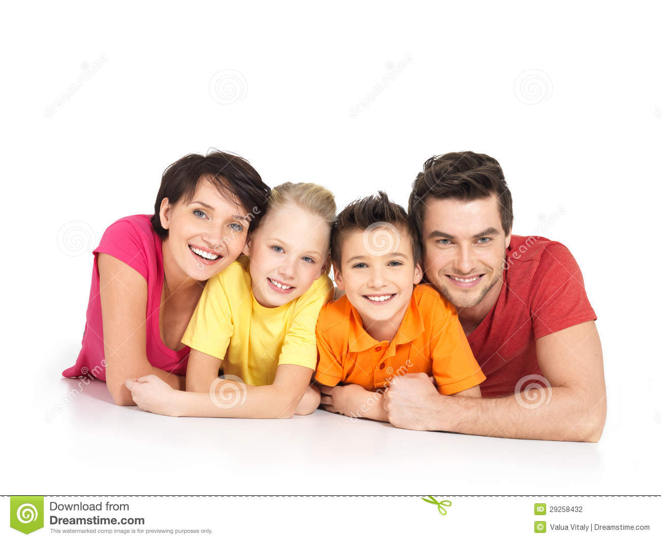 Happy Family With Two Children Lying On White Floor Stock