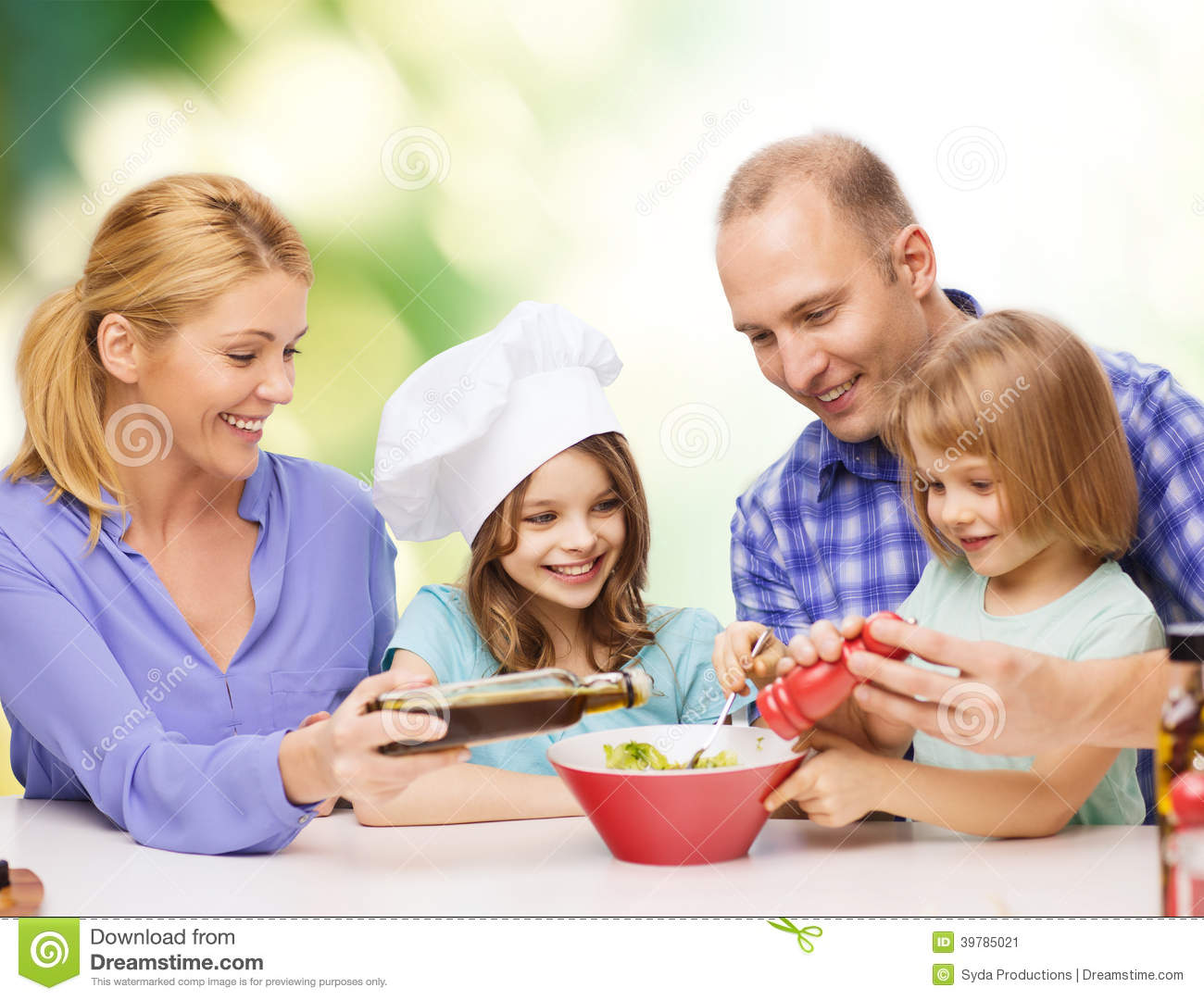 Happy family with two kids eating at home stock photo for What is family home