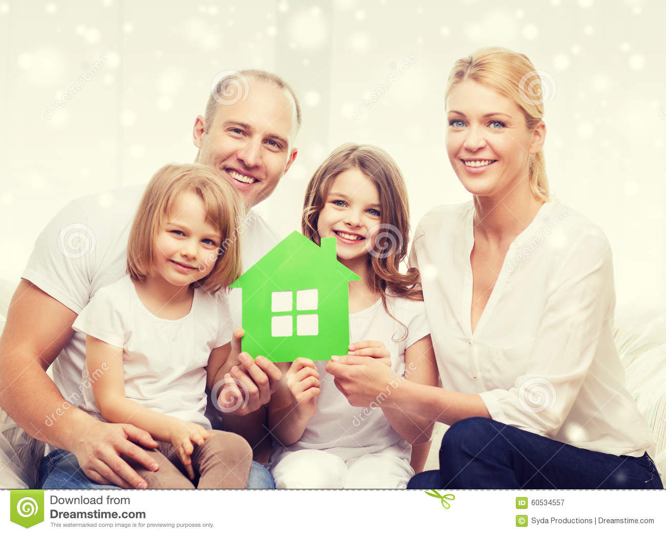 Happy family with two kids and paper house at home stock photo image 60534557 - Houses for families withchild ...