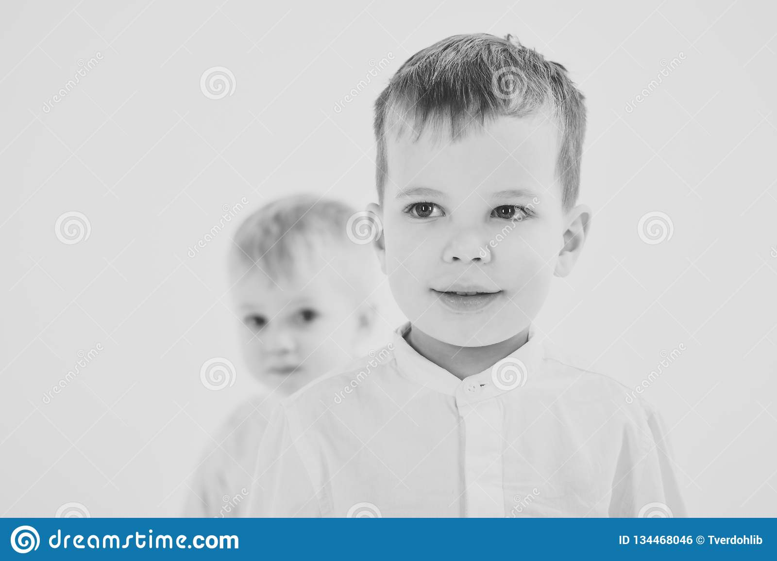 c499208dd Happy family, values, brothers. Little boys in white shirt, business. Kid  fashion, style and look, boss baby. Childhood and happiness, little boys.