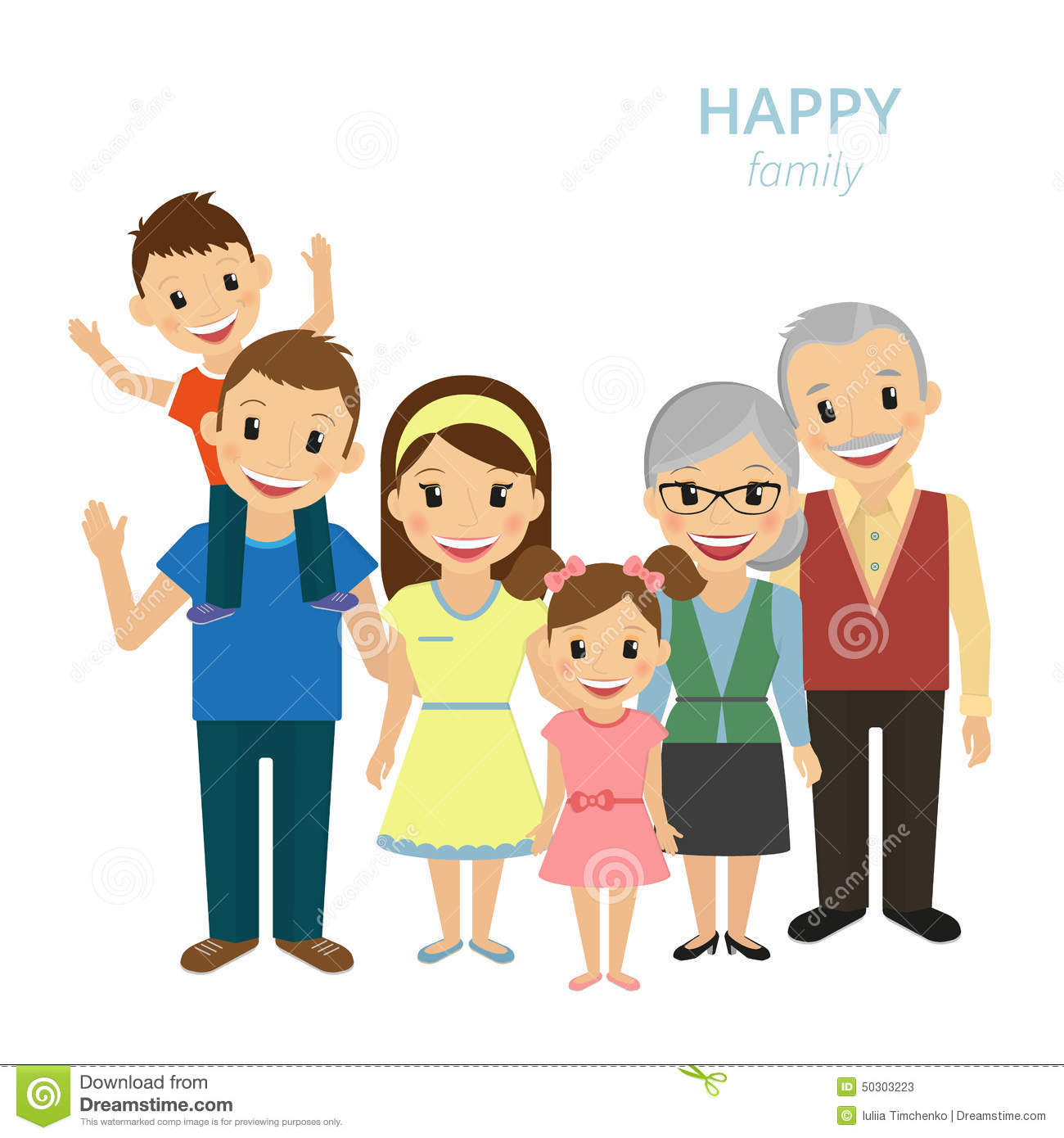 Box House Plans Happy Family Stock Vector Image 50303223