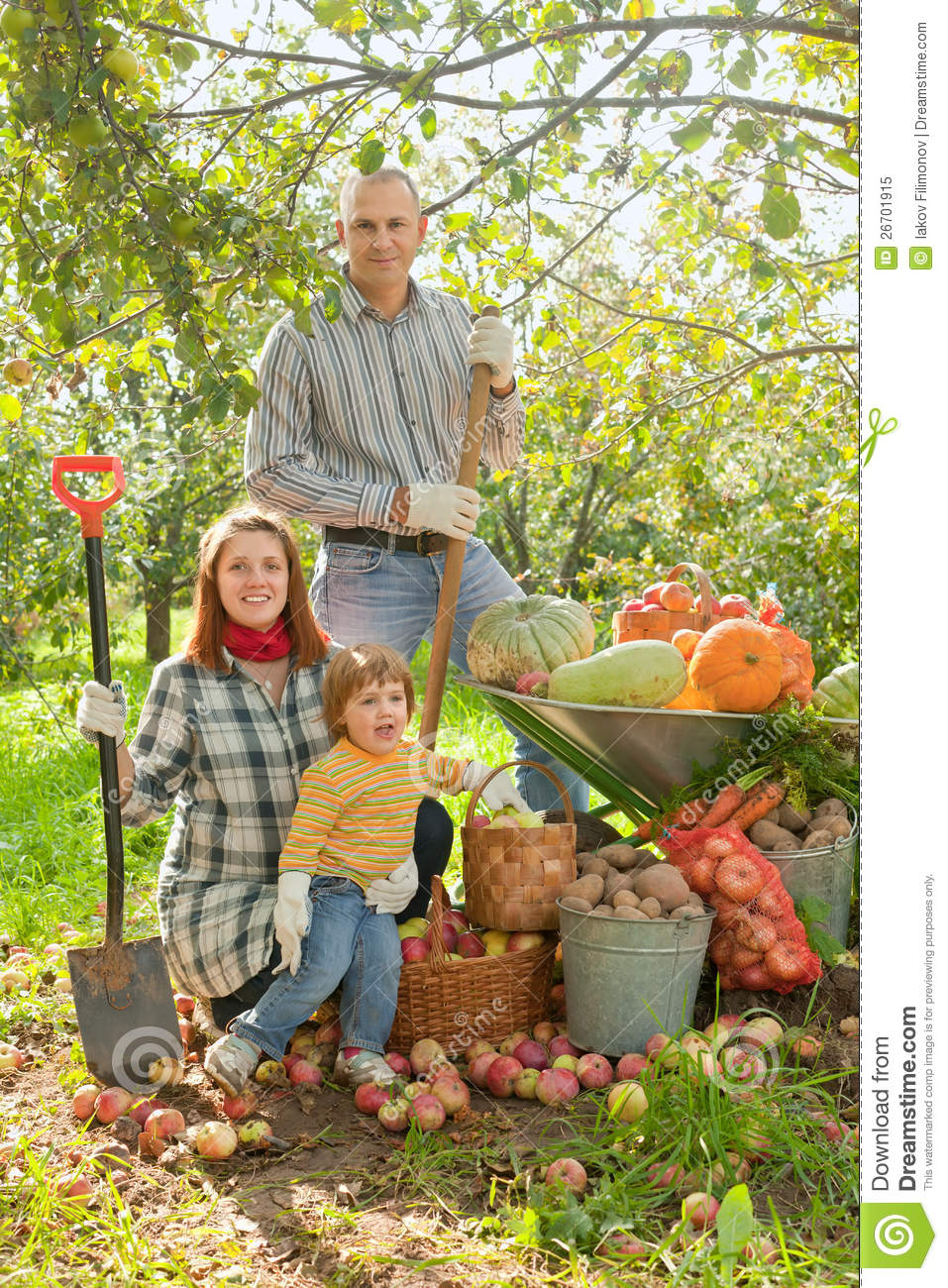 Happy Family With Vegetables Harvest Royalty Free Stock