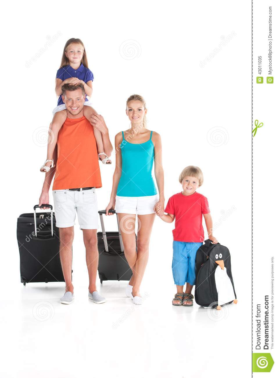 happy family walking with luggage on white background Travel Clip Art person carrying luggage clipart
