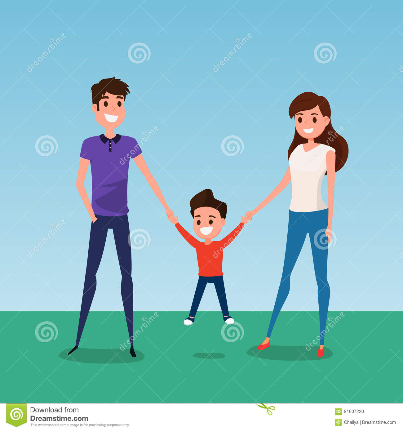Happy family walking together and hold in hand. Father mother and son. Flat design style.