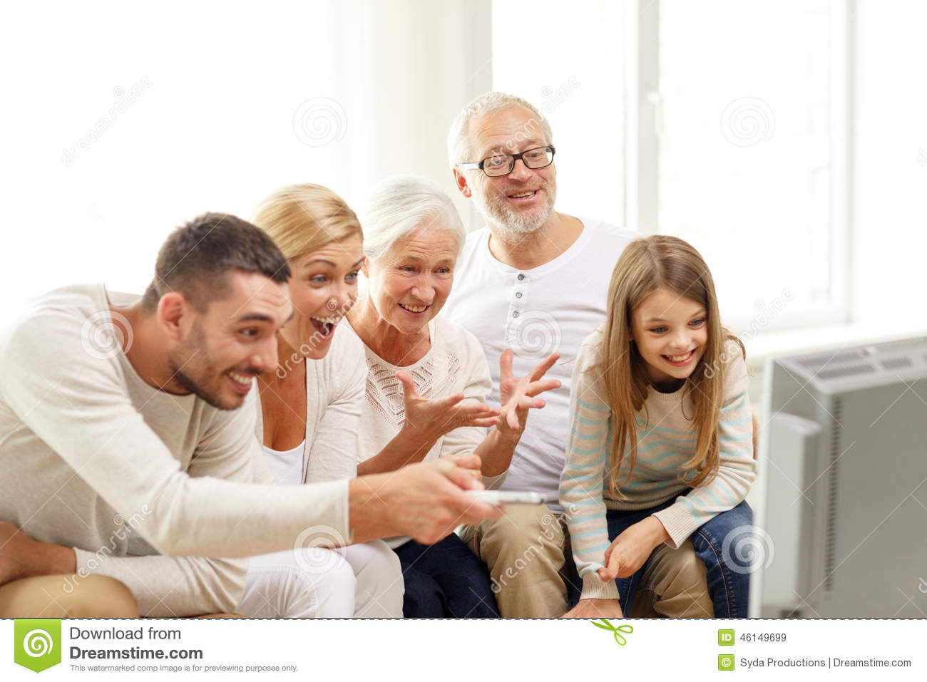 Happy family watching tv at home stock image image 46149699 for People watching