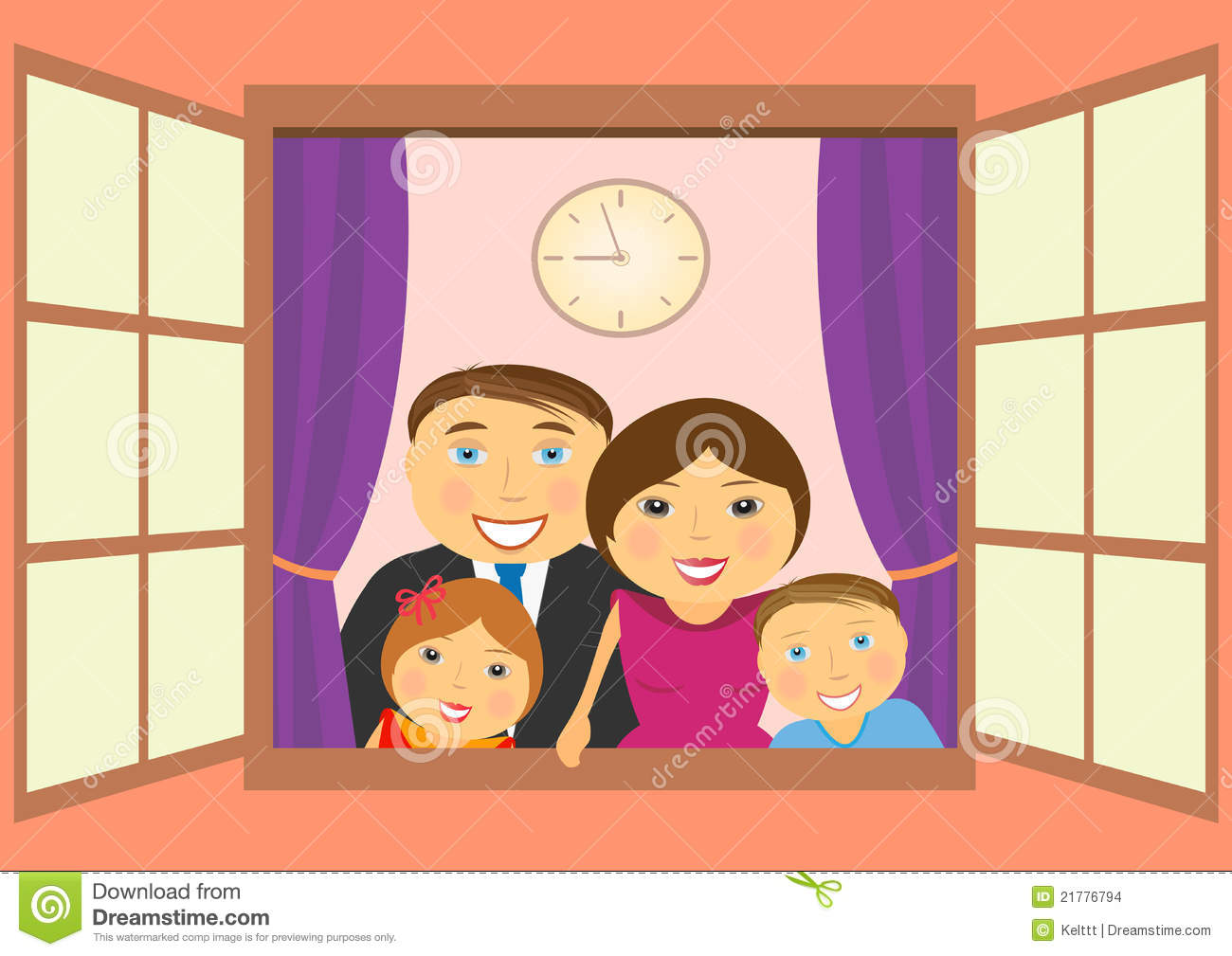 Happy family in window stock images image 21776794 for Par la fenetre ouverte bonjour