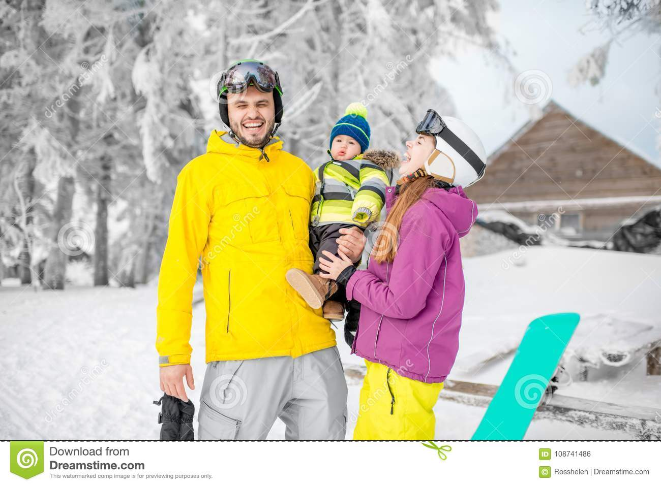 Happy family during the winter vacations