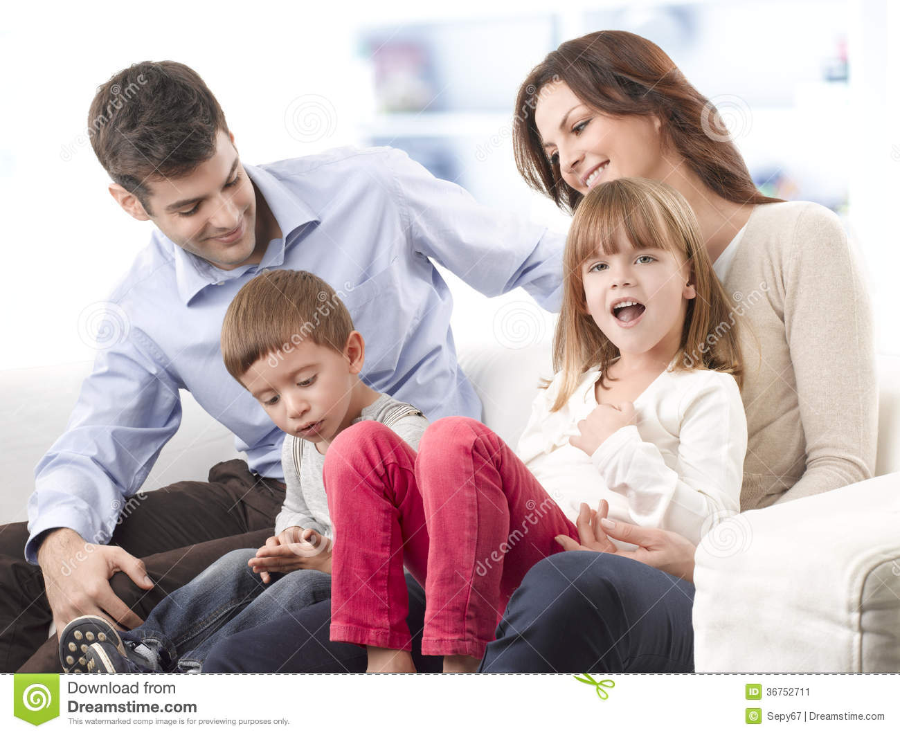 Happy family stock image image 36752711 for Living room ideas young family